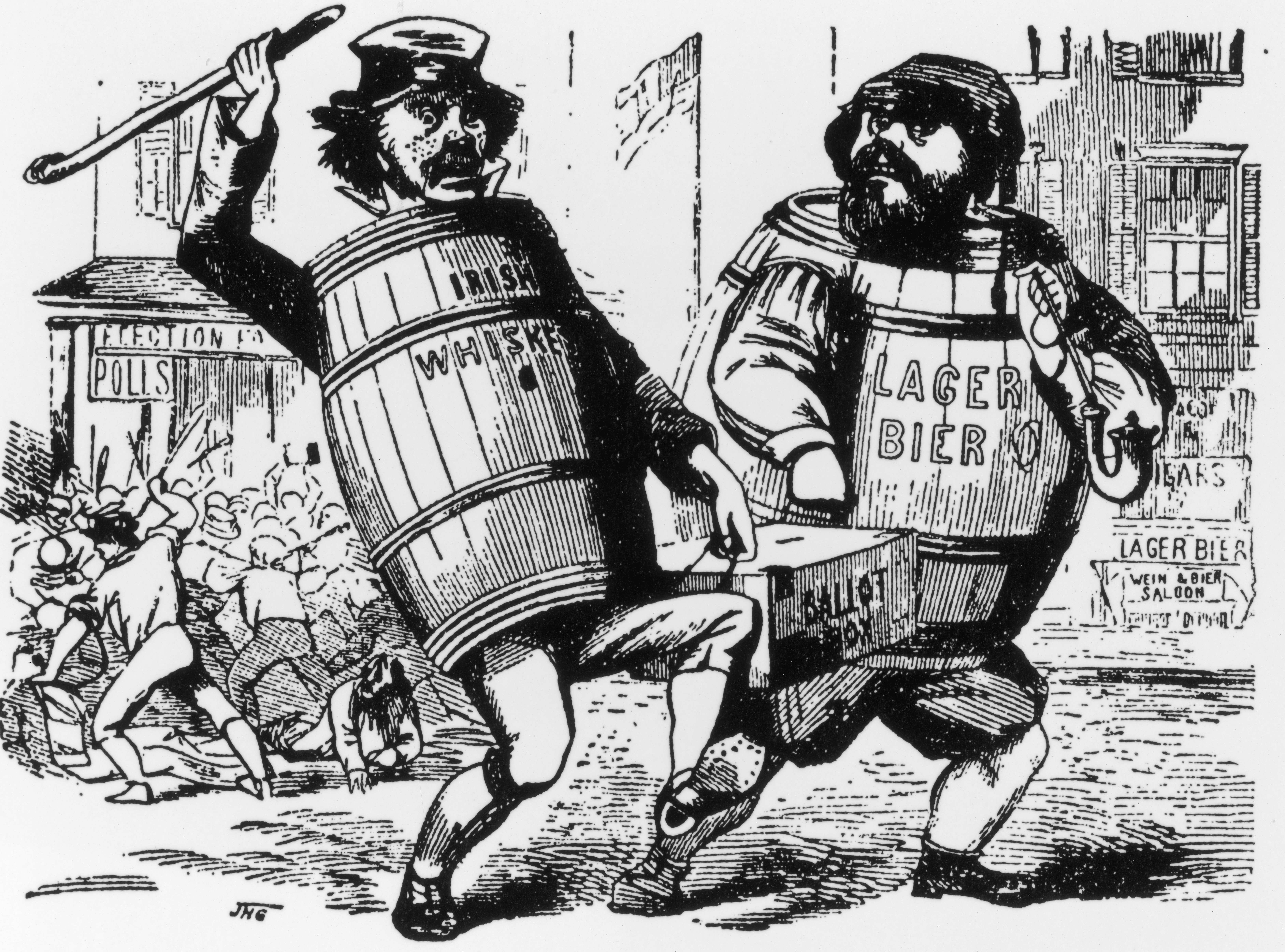 Cartoon charging Irish and German immigrants with stealing elections, showing a keg of Irish whiskey and a barrel of German beer running off with the ballot box, circa 1840s.