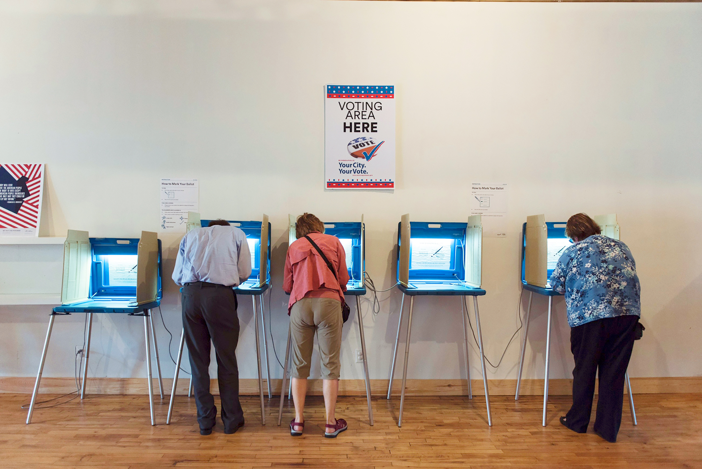 Voters cast early ballots in Minneapolis in October 2016