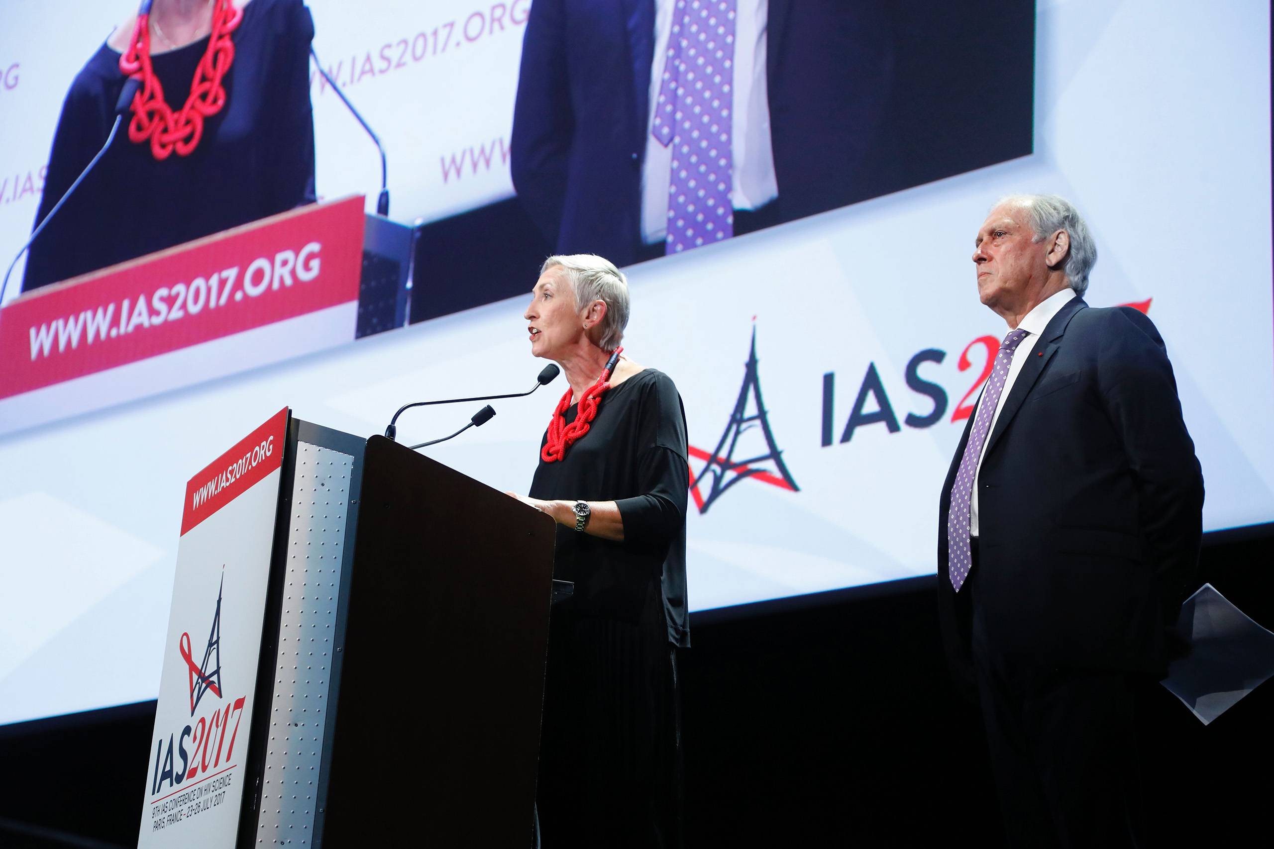 International AIDS Society president Linda-Gail Bekker and President of the French National Ethics Advisory Committee  and conference chairman Jean-Francois Delfraissy  attend the opening of the 9th International AIDS Society conference on HIV Science on July 23, 2017, in Paris.
