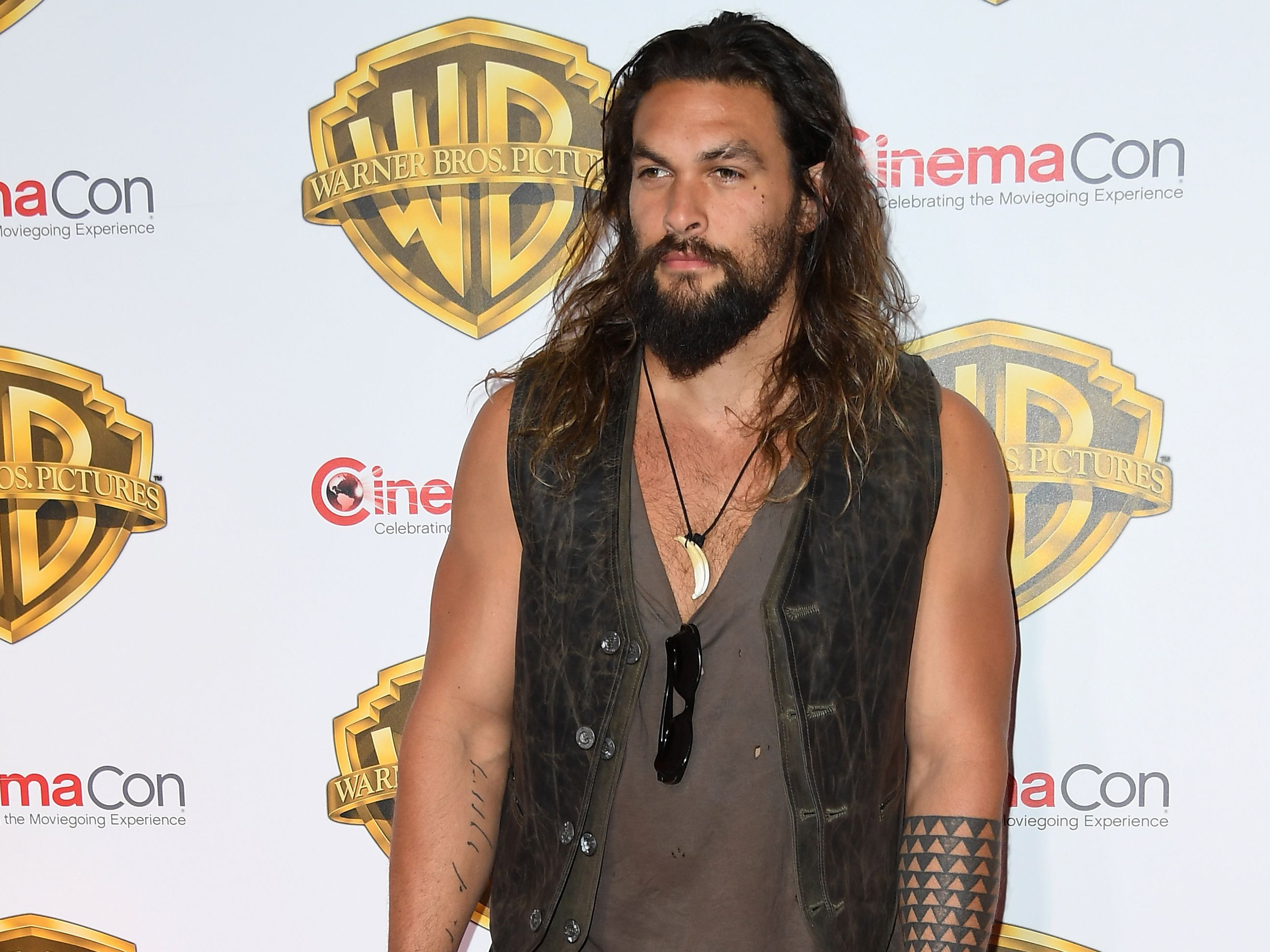 Actor Jason Momoa arrives at CinemaCon 2017 at The Colosseum at Caesars Palace during CinemaCon on March 29, 2017 in Las Vegas.