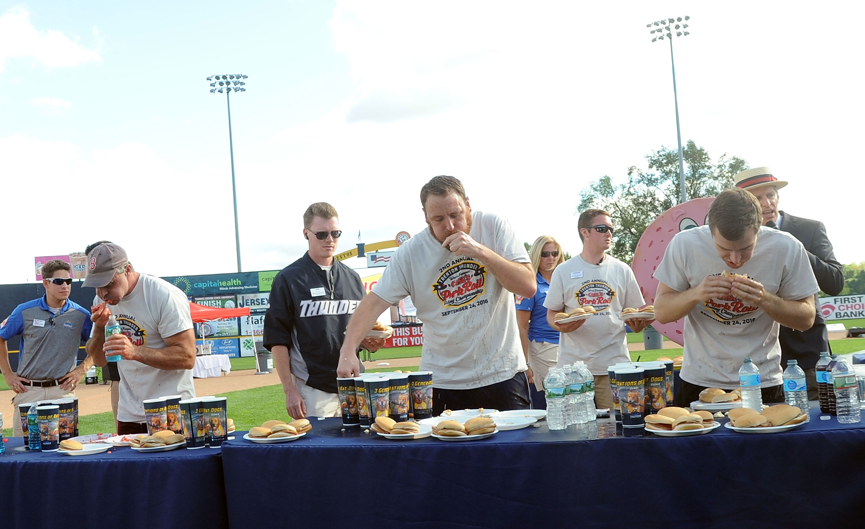 Joey Chestnut and Carmen Cincotti at the 2016 Trenton Thunder World Famous Case's Pork Roll Eating Championship at Arm & Hammer Park on Sept. 24, 2016 in Trenton, New Jersey.
