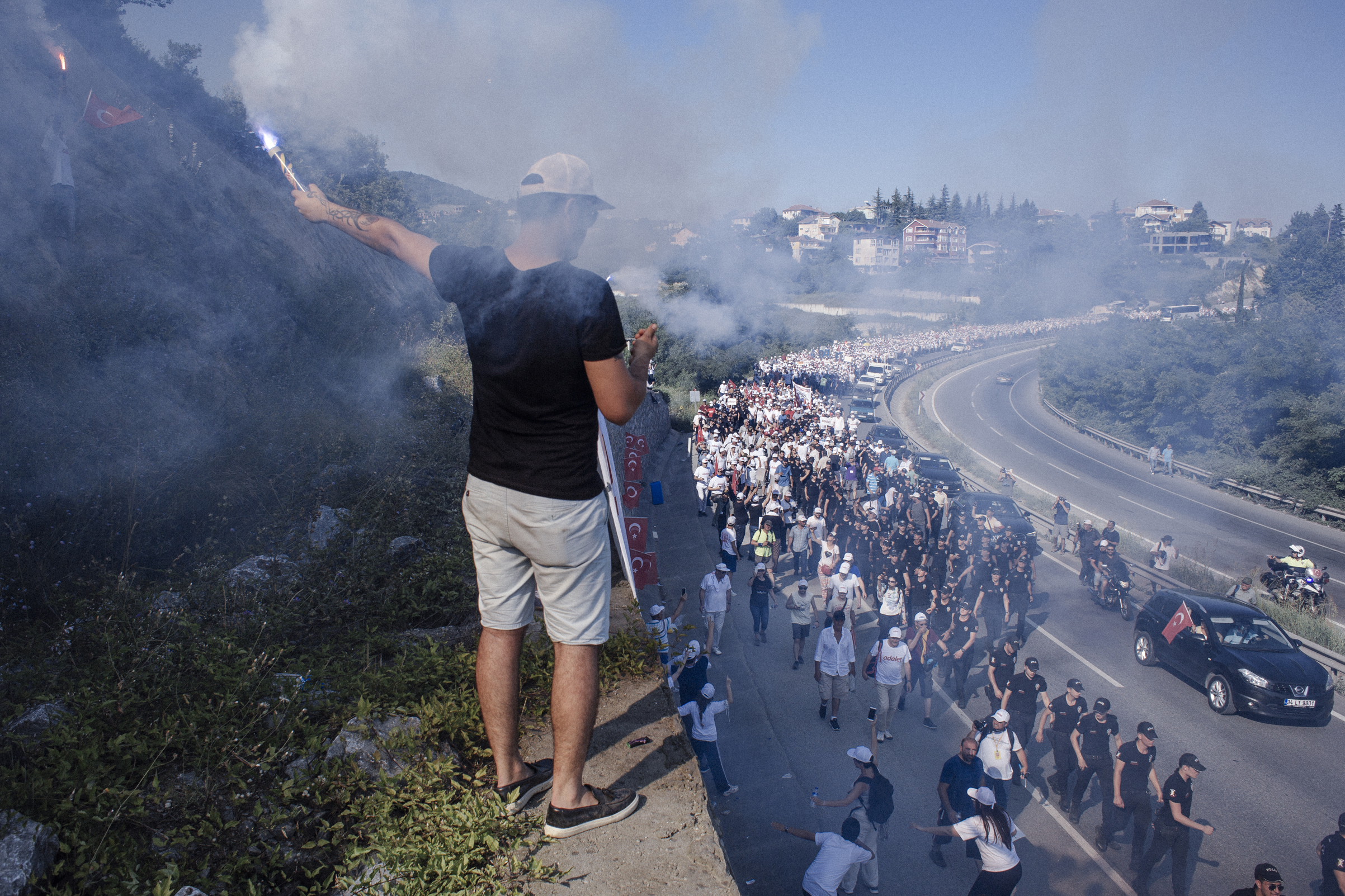 Thousands march for justice from Ankara to Istanbul, led by CHP (Republican People's Party) opposition leader Kemal Kilicdaroglu, Sakarya, Turkey, July 2, 2017.  The demonstrators are protesting the more than 47,000 people who have been arrested since last year's attempted coup of July 15, 2016.