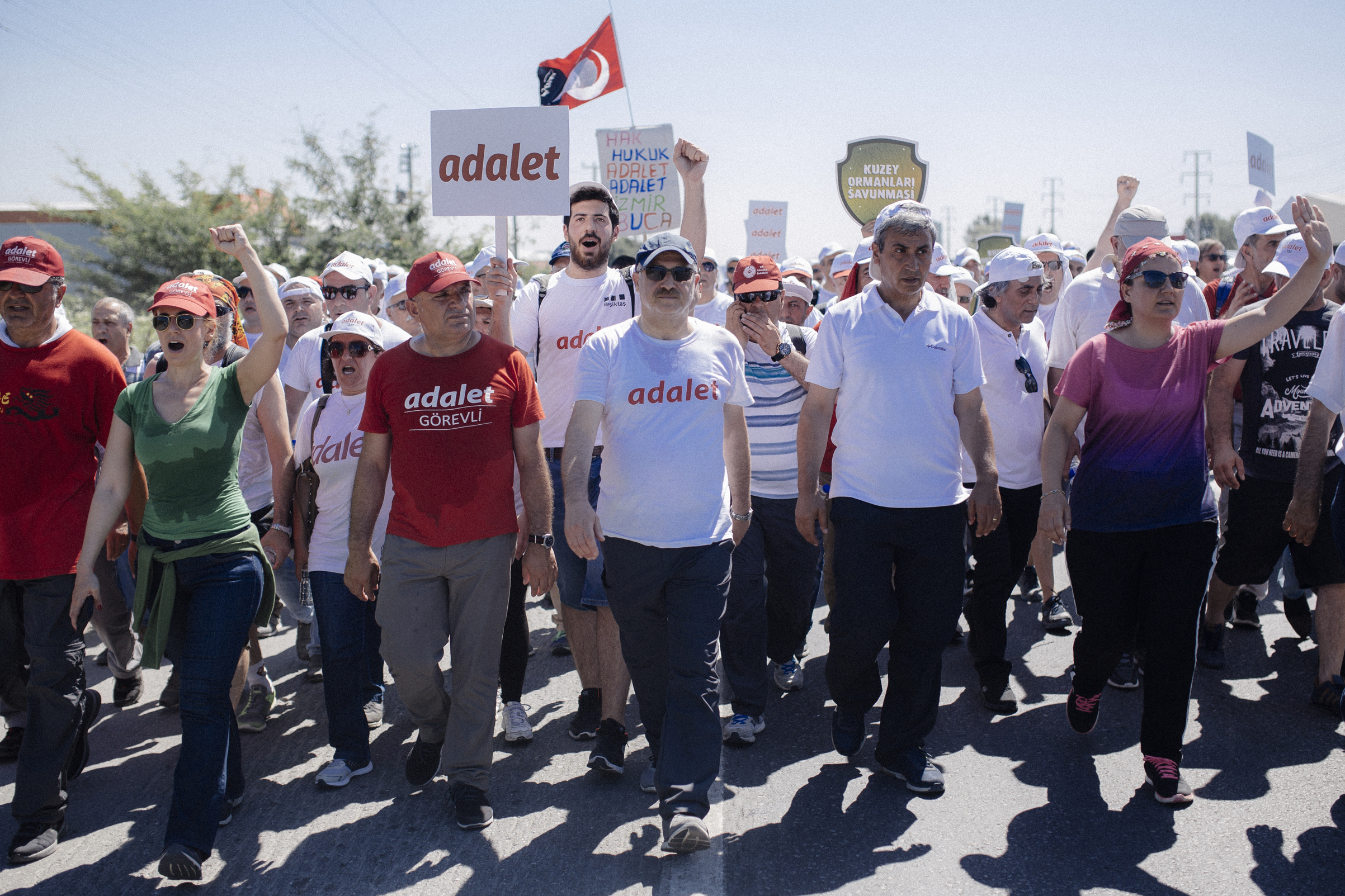 Thousands walk and shout slogans during the Justice March which began June 15 in Ankara, Turkey in protest of President Recep Tayyip Erdogan's government, July 1, 2017.