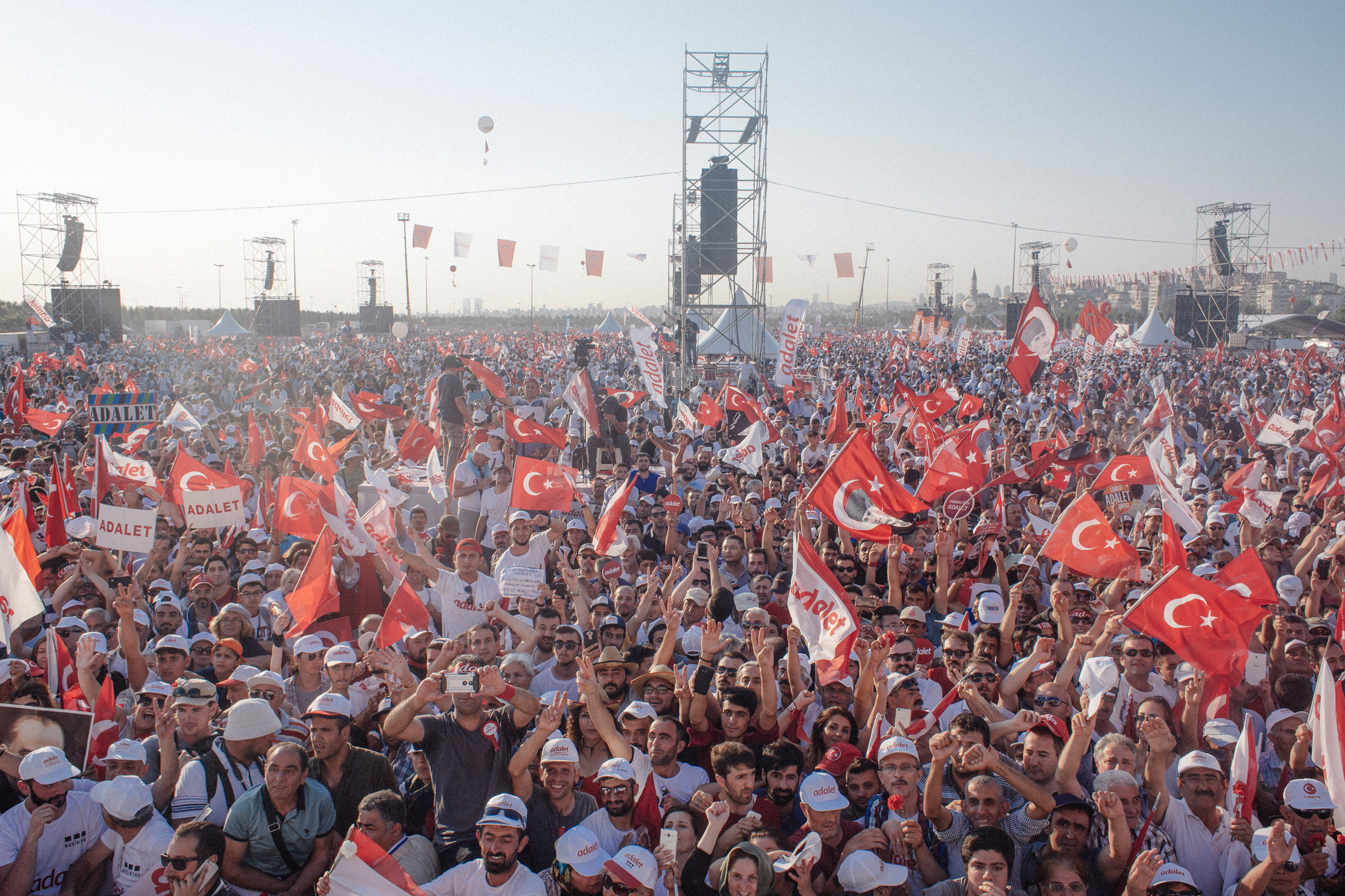 People wave flags during an anti-government rally in the Maltepe district in Istanbul, July 9, 2017. More than two million people gathered in Istanbul at the end of the 3 week Justice March led by the main opposition leader Republican People's Party (CHP), Kemal Kilicdaroglu. The rally represented the largest public display of opposition to the clampdown by Erdogan's government since he survived a failed military coup attempt nearly a year ago.