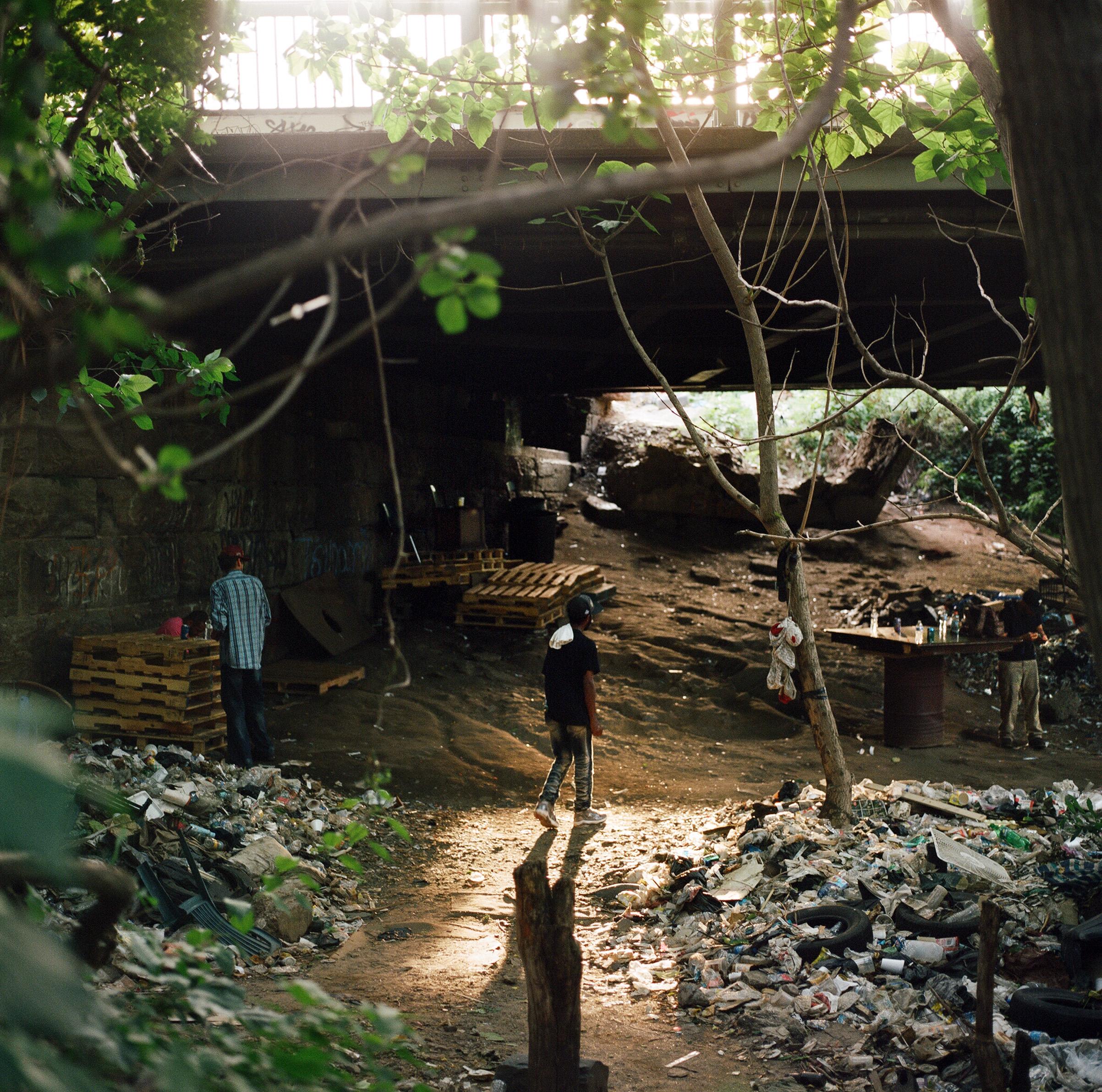 Under the 2nd street bridge in El Campamento.