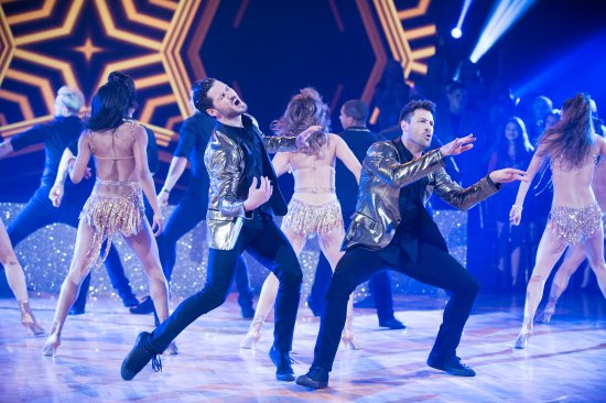 Valentin Chmerkovskiy and Maksim Chmerkovskiy perform during 'Dancing with the Stars' in New York on Sept. 27, 2016.