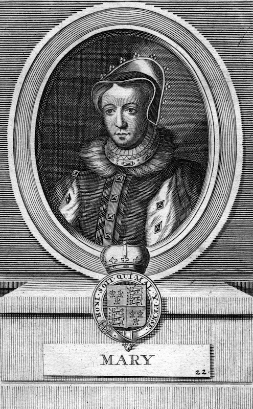 Queen Mary I of England. Mary Tudor (1516-1558) was Queen of England and Queen of Ireland from 1553 until her death.