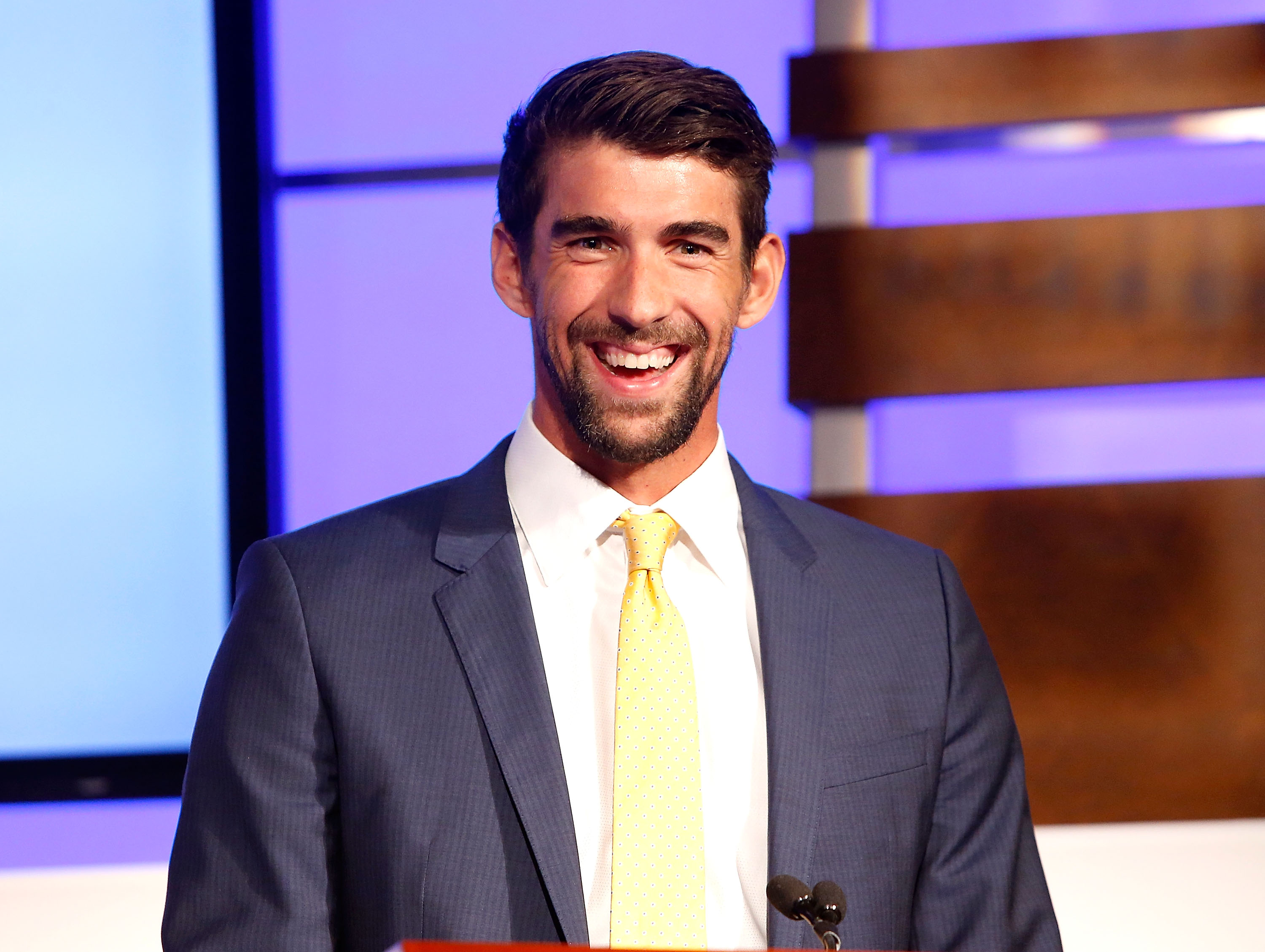 Swimmer Michael Phelps speaks at the  National Children's Mental Health Awareness Day event at George Washington University on May 4, 2017 in Washington, DC.