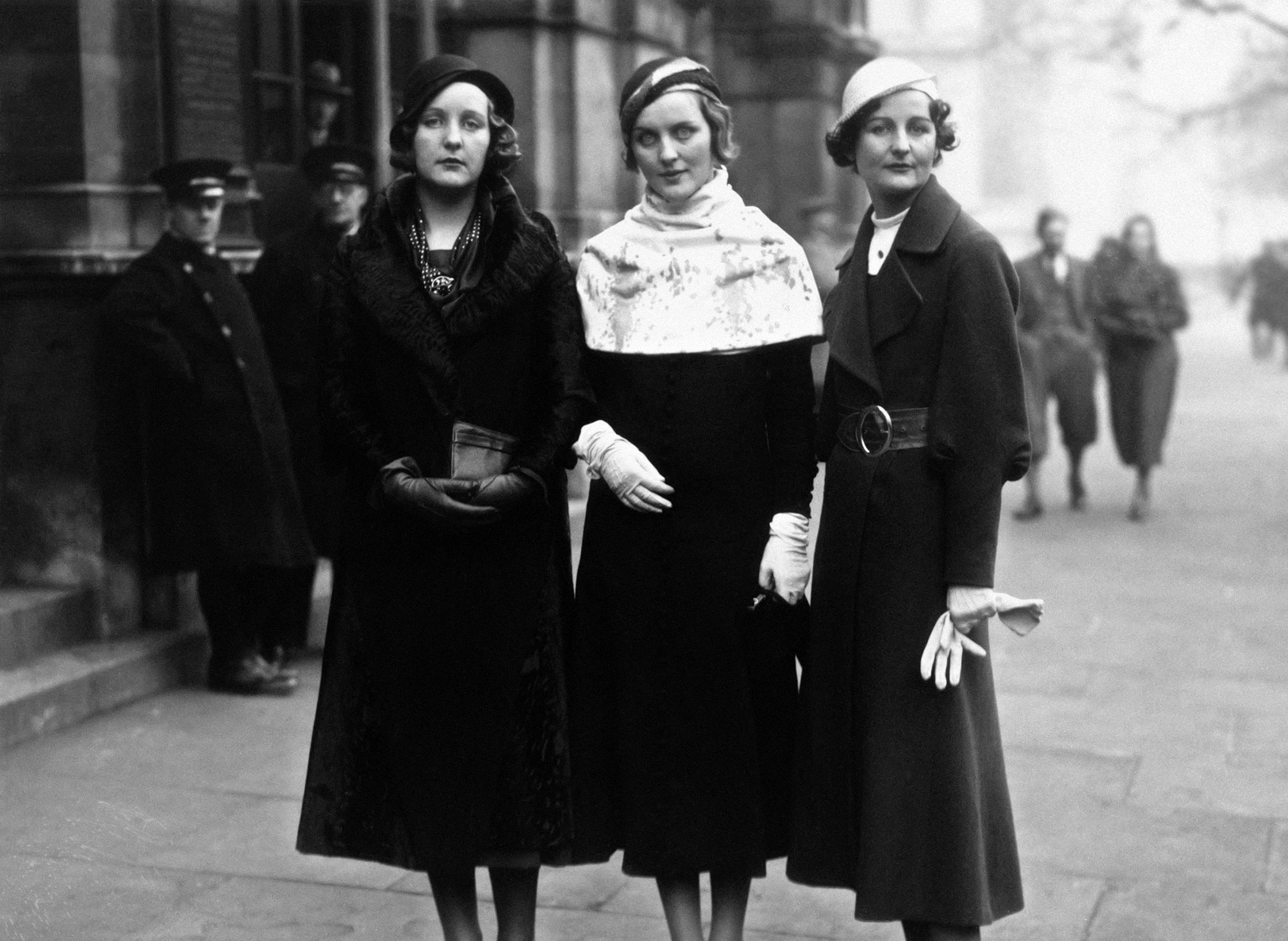 Three of the Mitford sisters, aristocrats and tabloid sensations, at Lord Stanley of Aldernay's wedding. (L-R) Unity Mitford, Diana Mitford and writer Nancy Mitford. Circa 1932.
