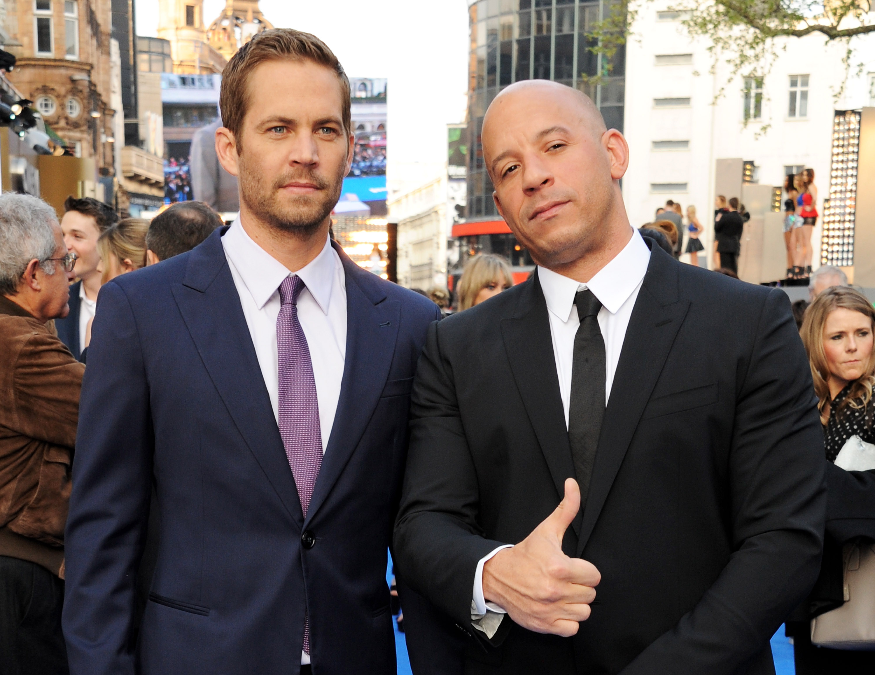 LONDON, ENGLAND - MAY 07:  (EMBARGOED FOR PUBLICATION IN UK TABLOID NEWSPAPERS UNTIL 48 HOURS AFTER CREATE DATE AND TIME. MANDATORY CREDIT PHOTO BY DAVE M. BENETT/WIREIMAGE REQUIRED)  Paul Walker (L) and Vin Diesel attend the World Premiere of 'Fast & Furious 6' at Empire Leicester Square on May 7, 2013 in London, England.  (Photo by Dave M. Benett/WireImage)