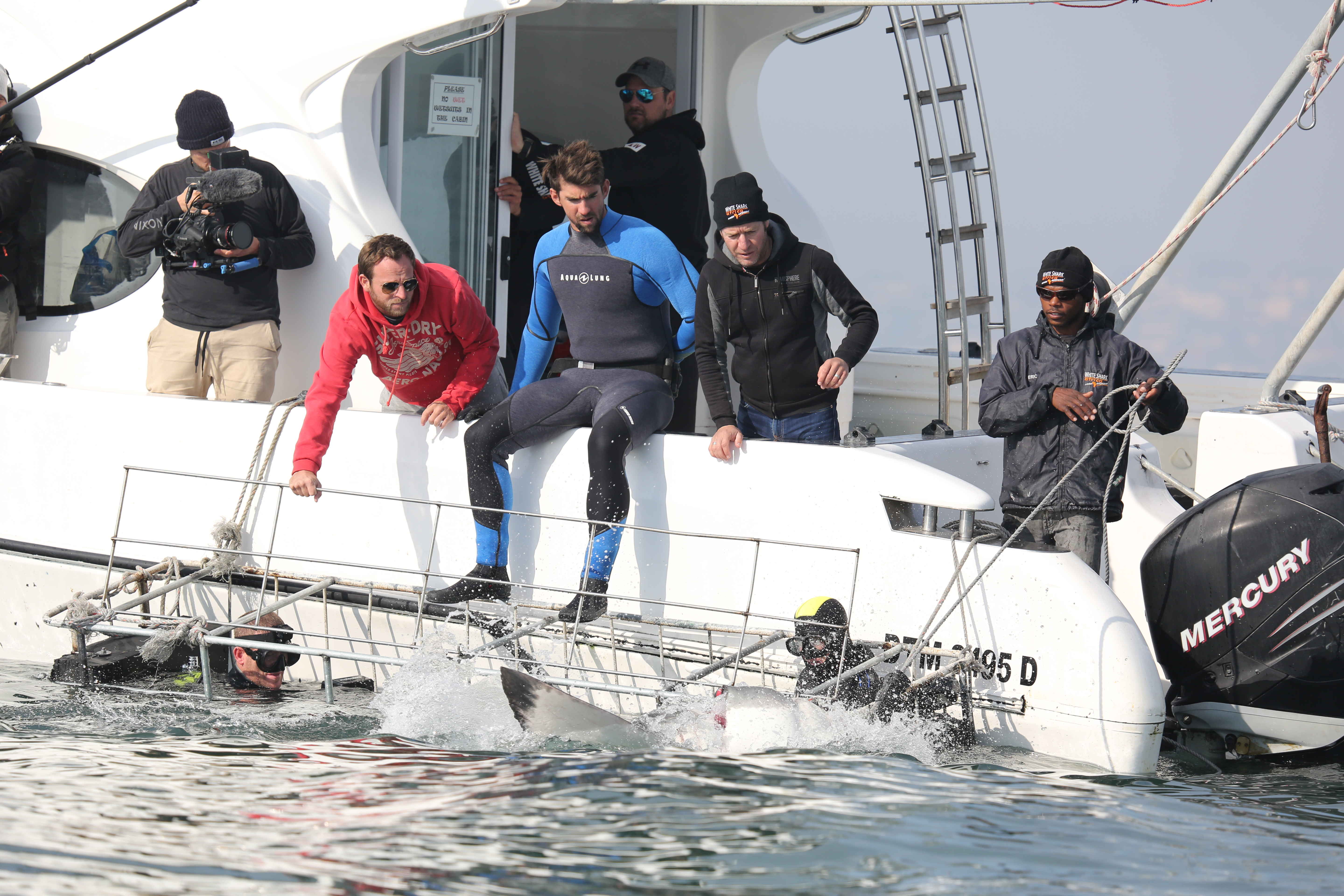 Phelps and the crew watch a shark approach the cage, which Michael is about to enter.
