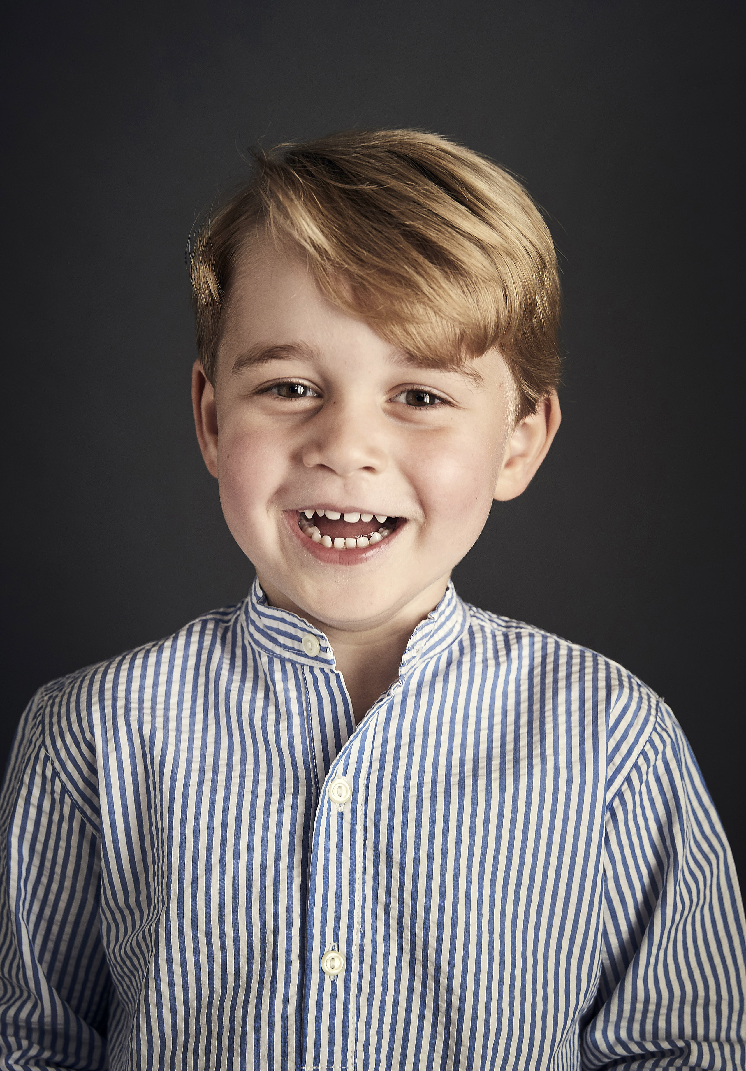 This undated photo has been released by the Duke and Duchess of Cambridge of Prince George, who celebrates his fourth birthday on Saturday. The picture was taken at Kensington Palace in London at the end of June.