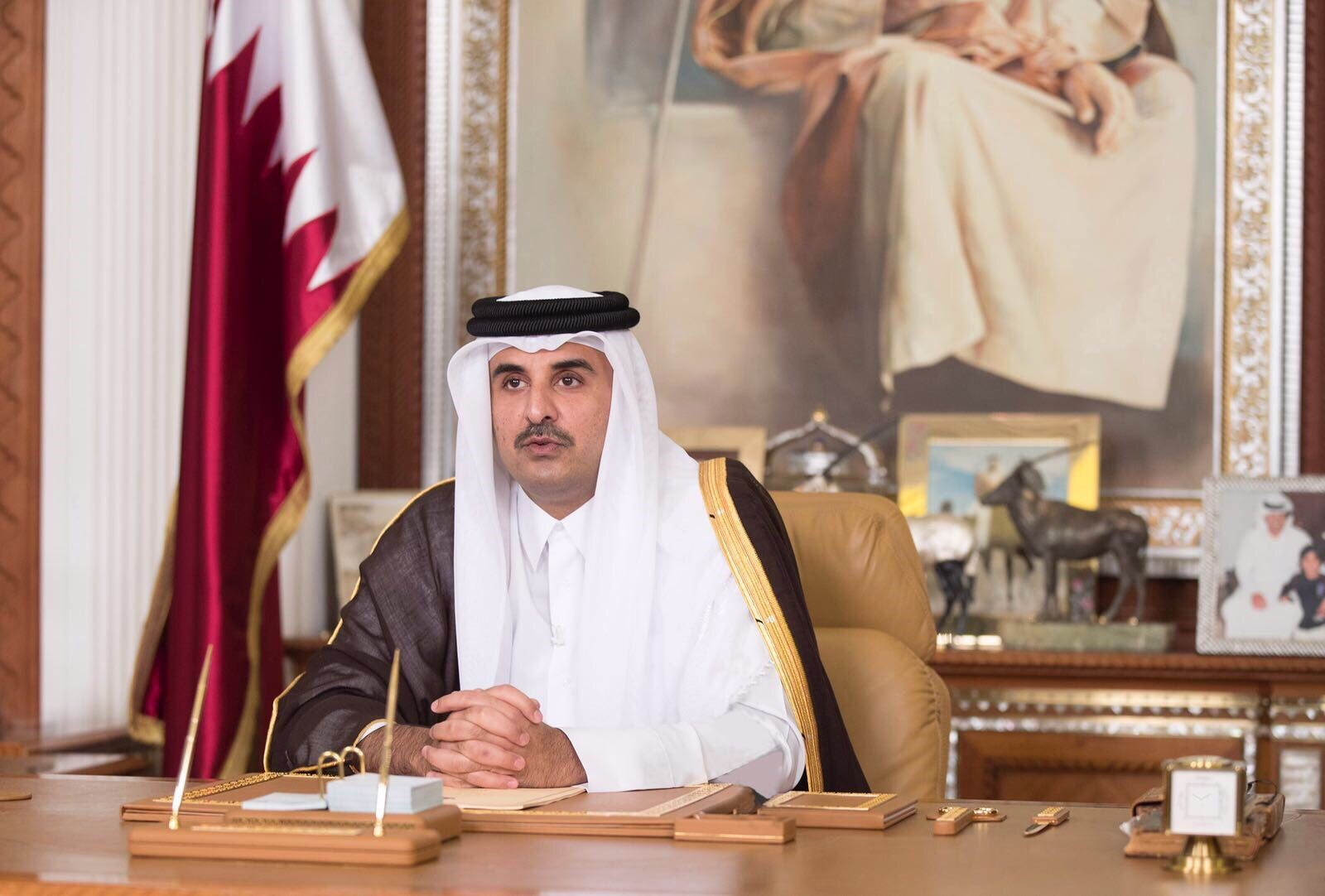 Emir of Qatar Sheikh Tamim bin Hamad Al Thani delivers a speech on National television, in Doha, Qatar on July 22, 2017.