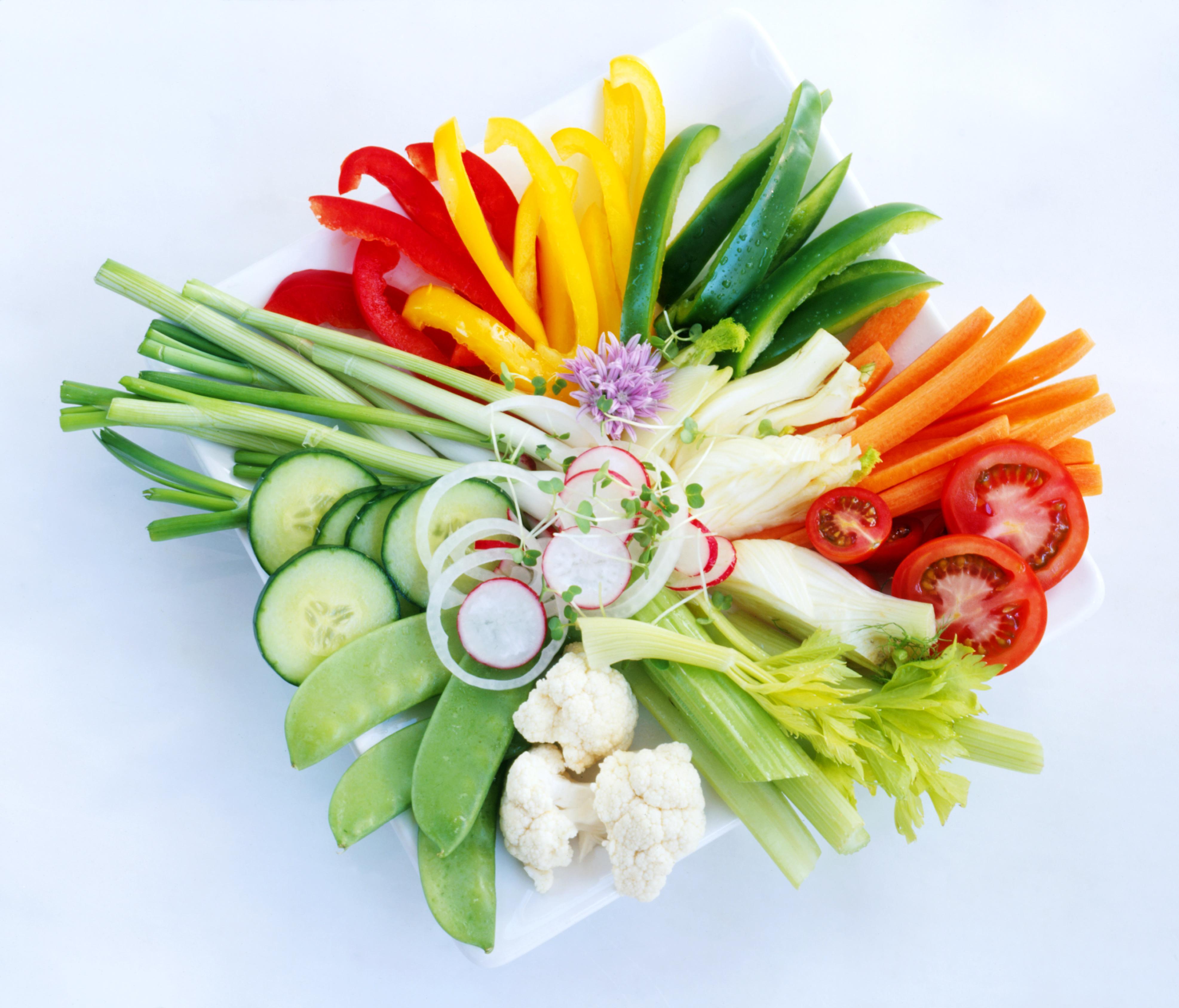 Sliced & chopped raw vegetables