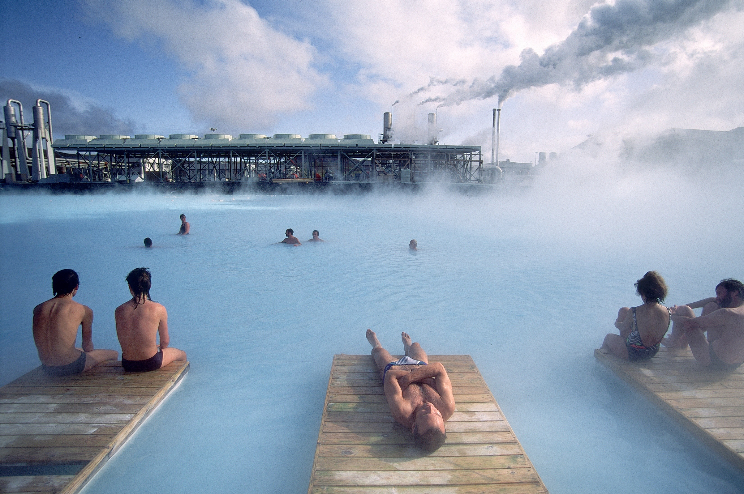 Bathers at the Blue Lagoon thermal bath in Reykjanes, Iceland.