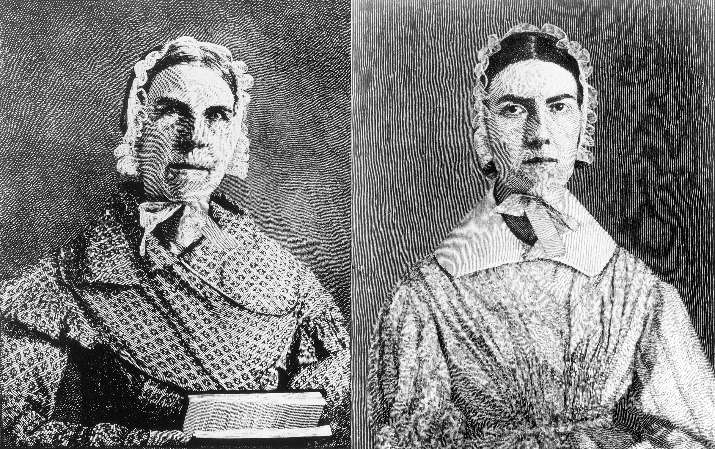 Abolitionists and women's rights activists Sarah Grimké (L) and Angelina Grimké (R). Circa 1820s.