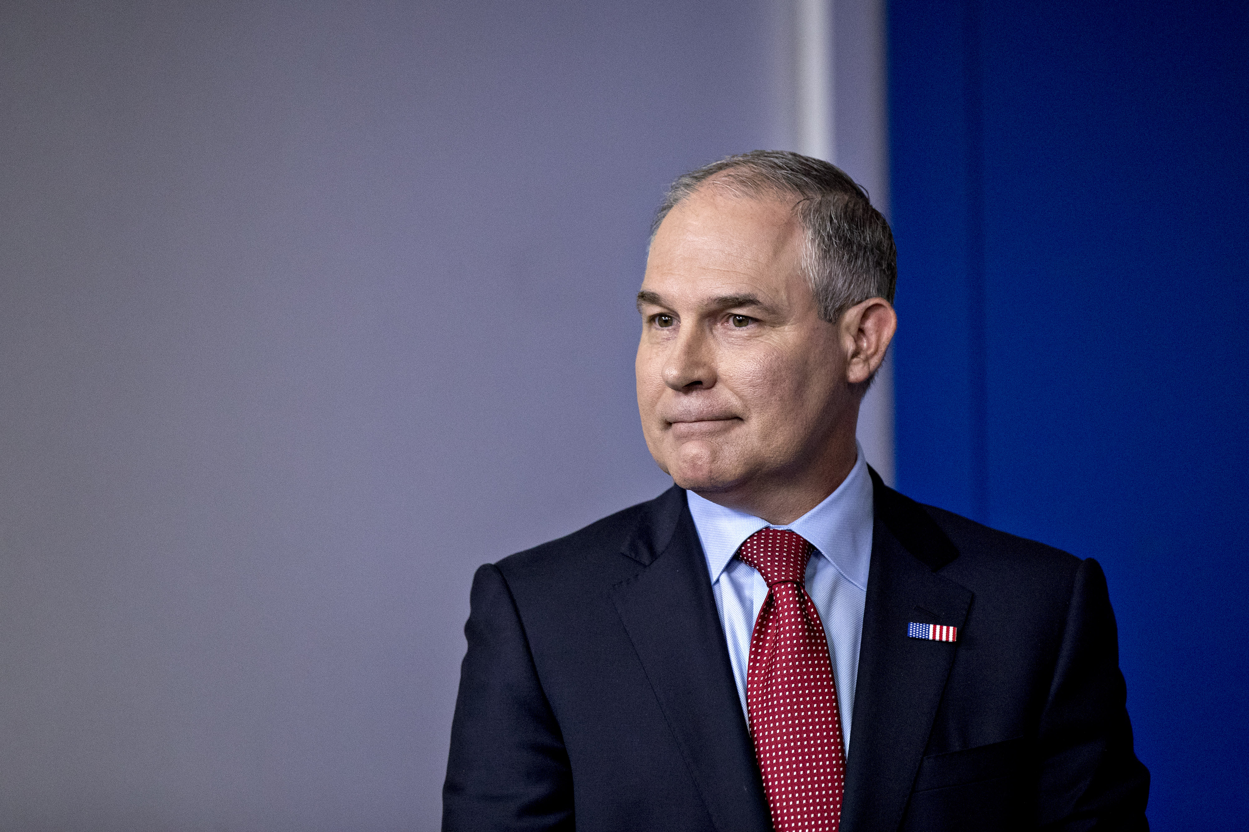 Scott Pruitt, administrator of the Environmental Protection Agency (EPA), waits to speak during a White House press briefing in Washington, D.C. on June 2, 2017.