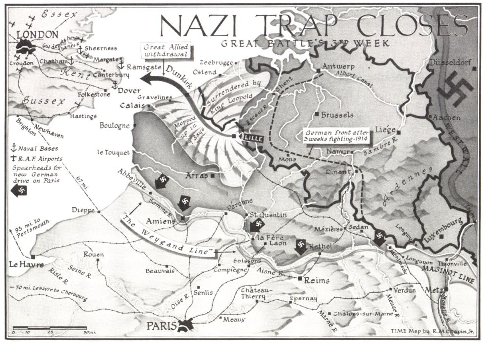 Map from the June 10, 1940, issue of TIME