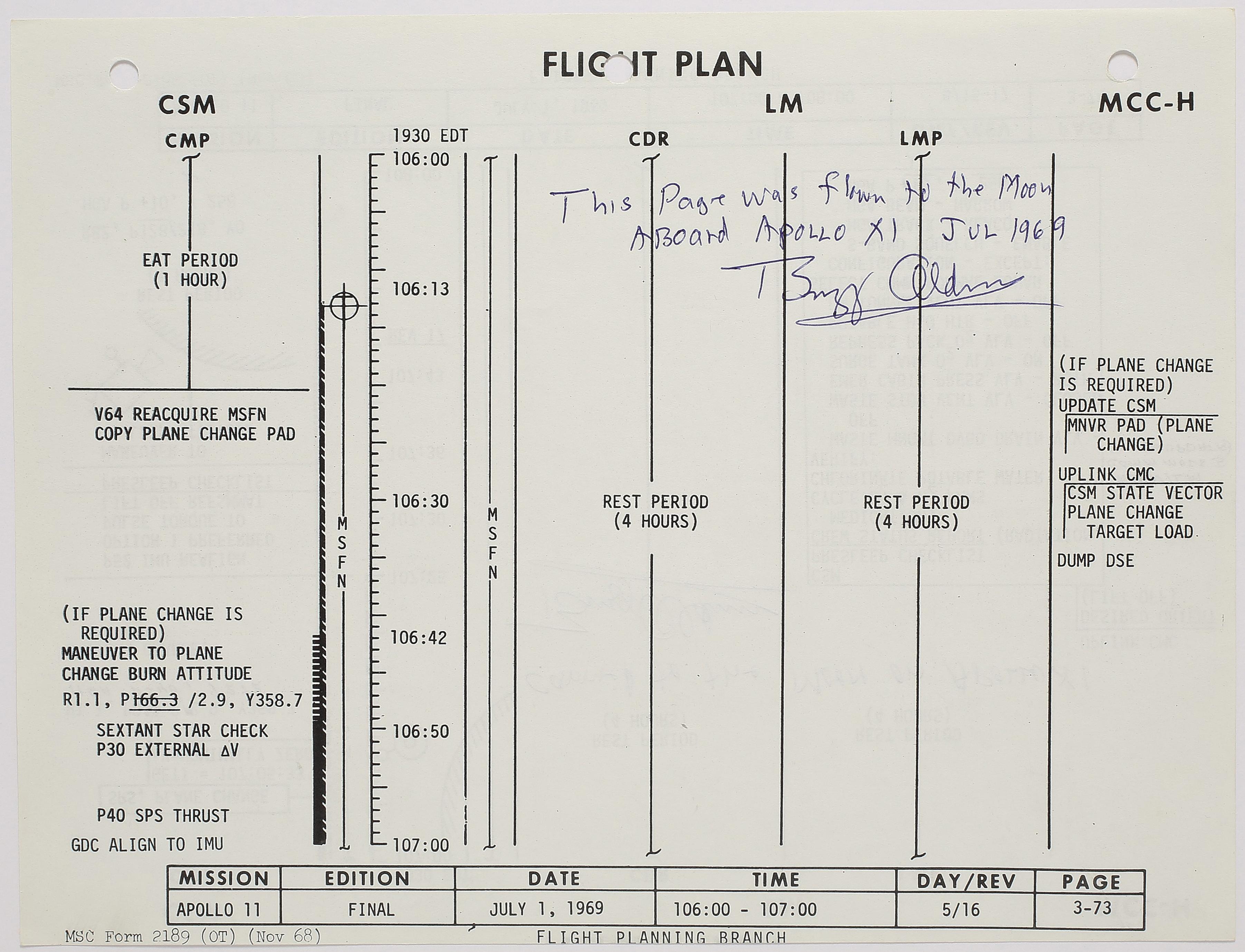 Flown Apollo 11 flight plan sheet. One of the few sheets describing crew activities while on the moon.