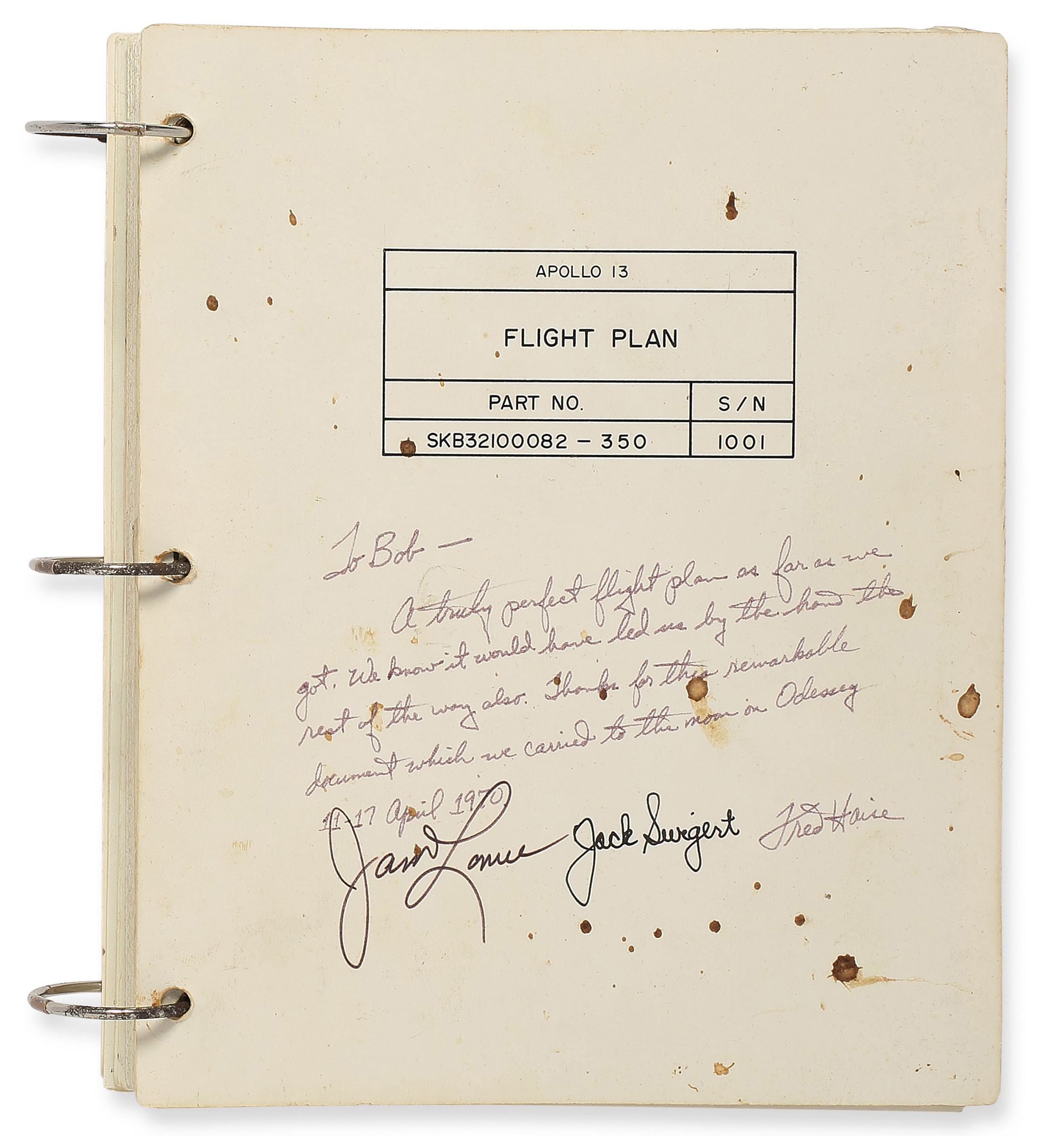 Front cover of the flown Apollo 13 Flight Plan.