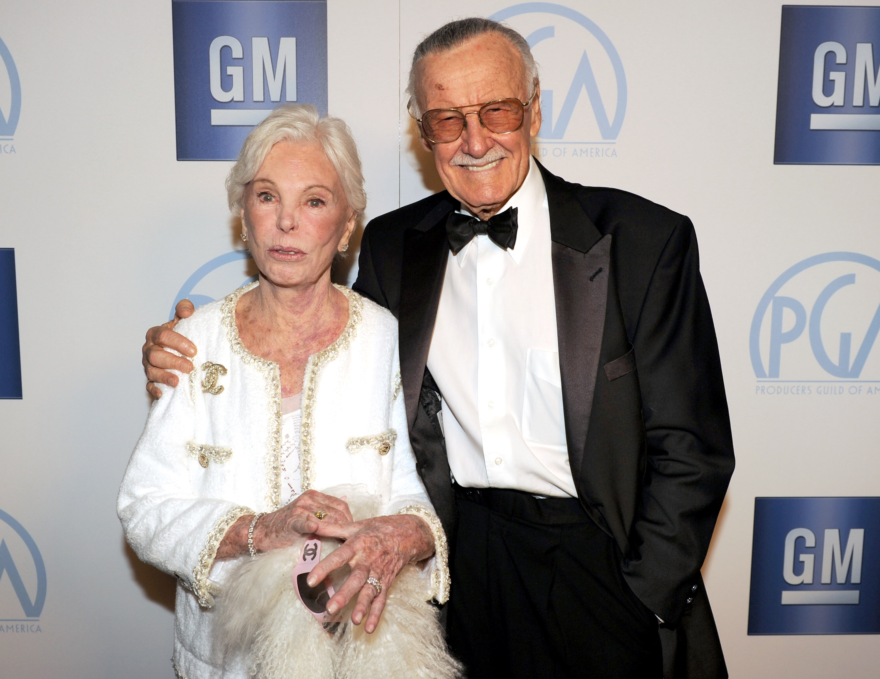 Comic book artist Stan Lee (R) and Joan B. Lee attend the 23rd annual Producers Guild Awards at The Beverly Hilton hotel on Jan. 21, 2012 in Beverly Hills, California.