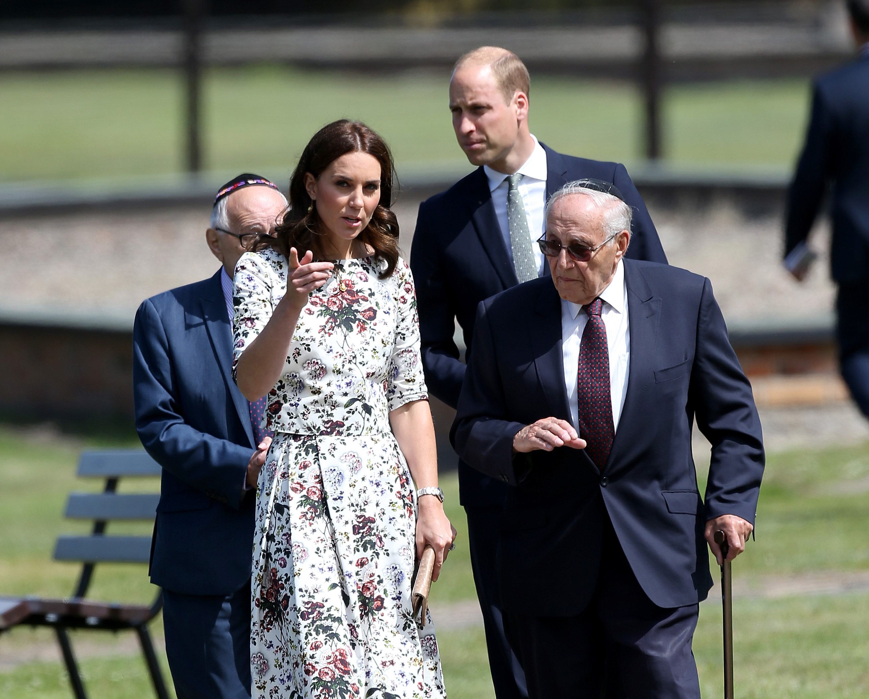 Prince William, Duke of Cambridge and Catherine, Duchess of Cambridge talk with former prisoners from the Stutthof concentration camp during an official visit to Poland and Germany on July 18, 2017 in Gdansk, Poland.