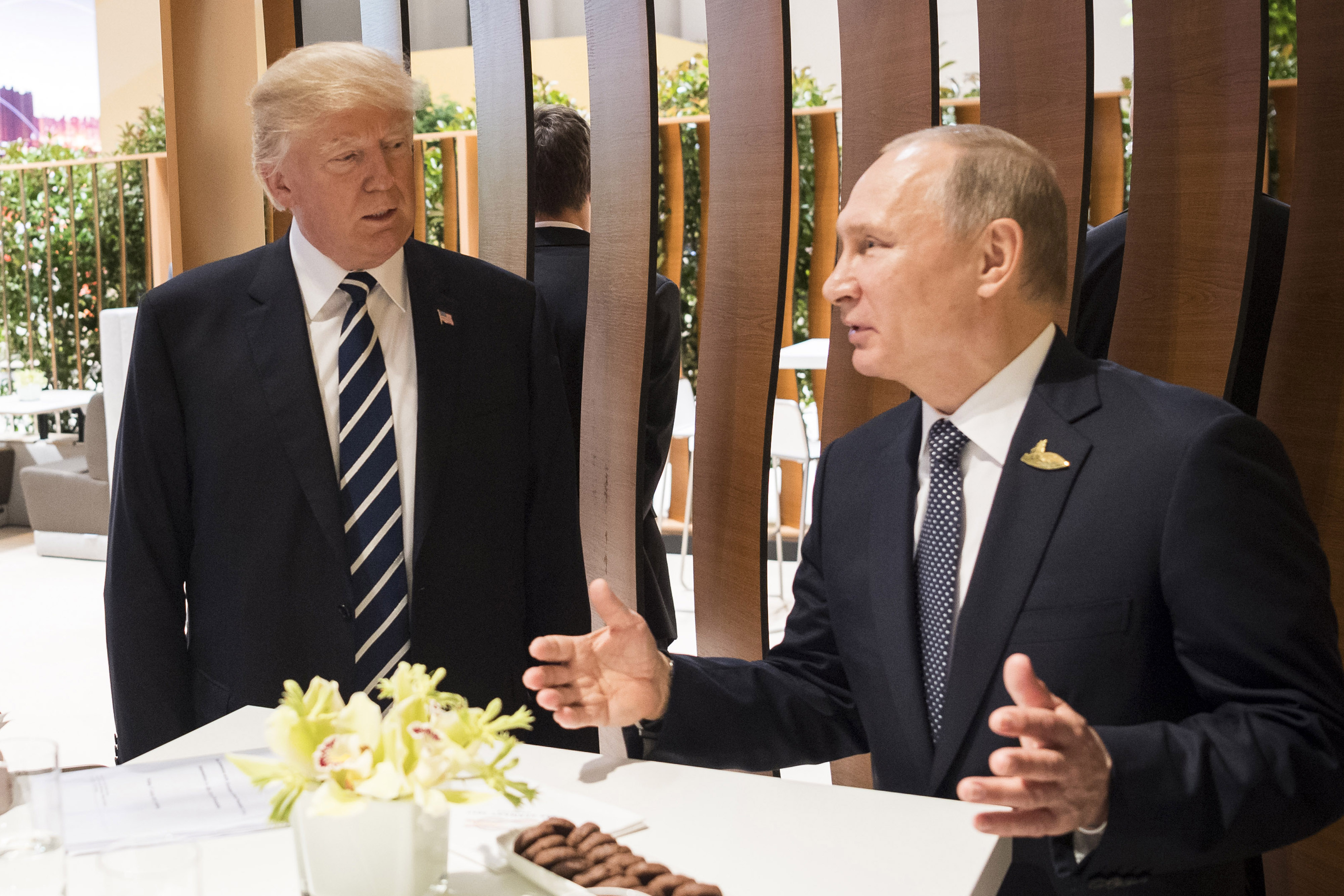 President Donald Trump meets Russian President Vladimir Putin during the G20 Summit on July 7, 2017 in Hamburg.