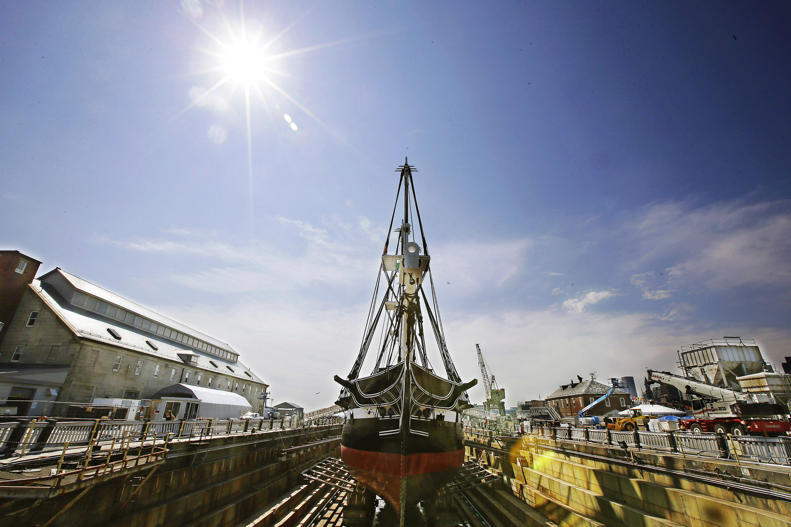 The USS Constitution,  Old Ironsides,  the world's oldest commissioned warship, sits in dry dock in Boston after a more then two year long restoration, on July 17, 2017.