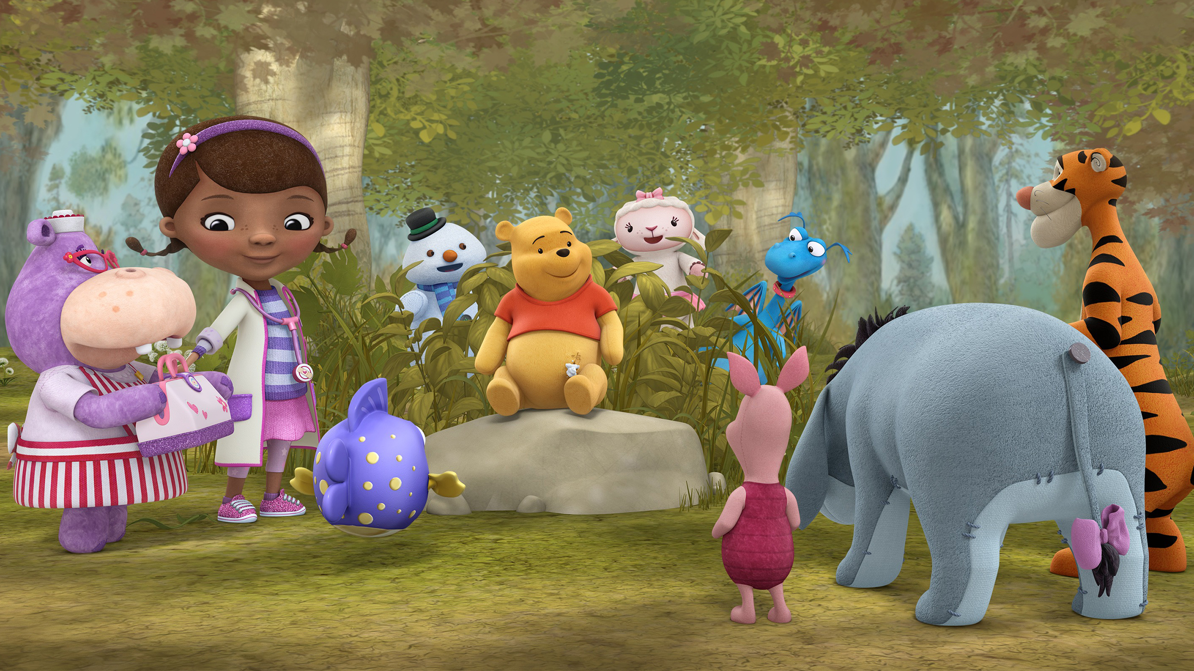 Doc ventures  Into the Hundred Acre Wood!  with her toys and welcomes Winnie the Pooh and friends to McStuffinsville in Disney Junior's  Doc McStuffins  on January 18, 2017.