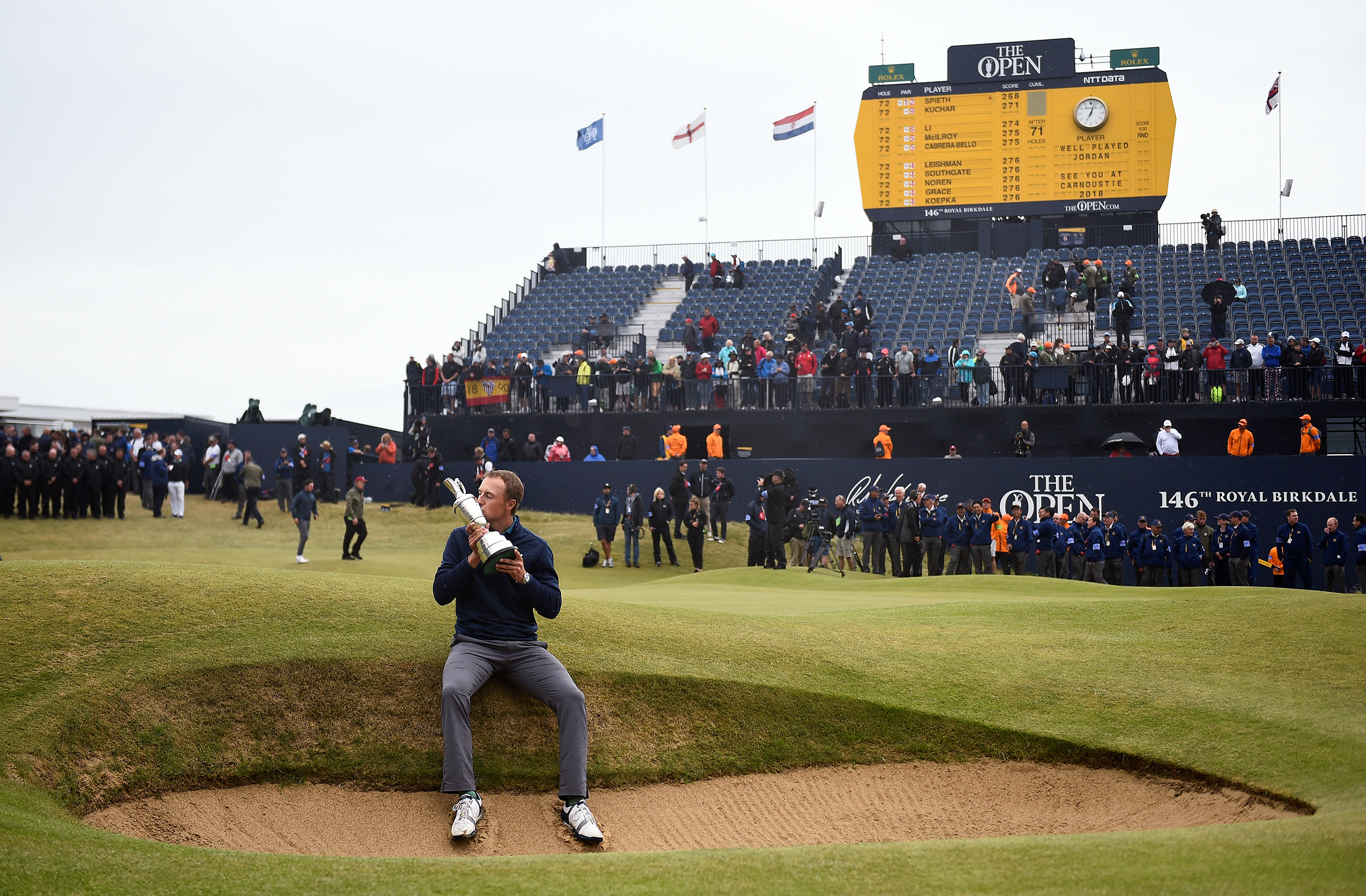 Jordan Spieth celebrates with The Claret Jug after winning The 146th Open Championship in Southport, Britain, on July 23, 2017.