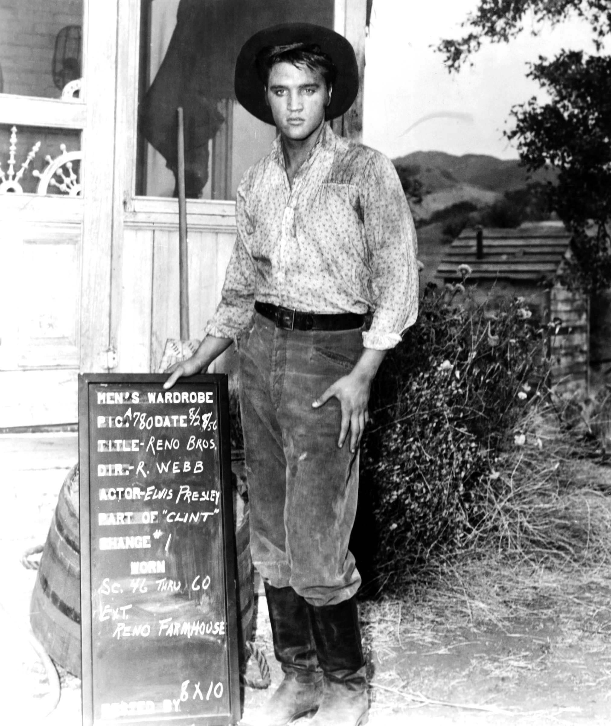 Love Me Tender : 1956, Elvis poses for a wardobe test.