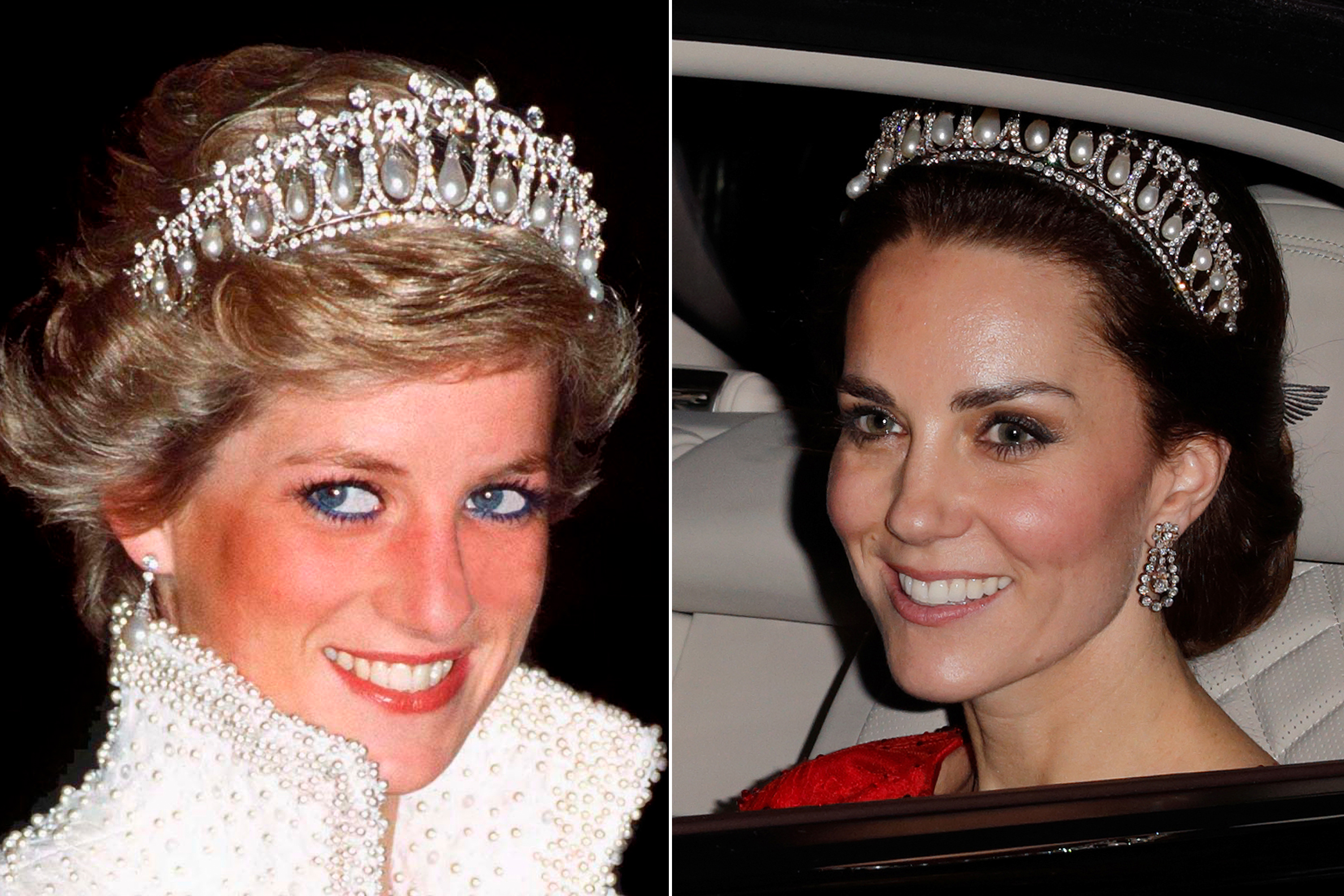 One of Diana's favorite pieces of jewelry from the royal family's collection was the Cambridge Lover's Knot tiara, which she wore often. Kate was recently photographed wearing it during a state dinner at Buckingham Palace.