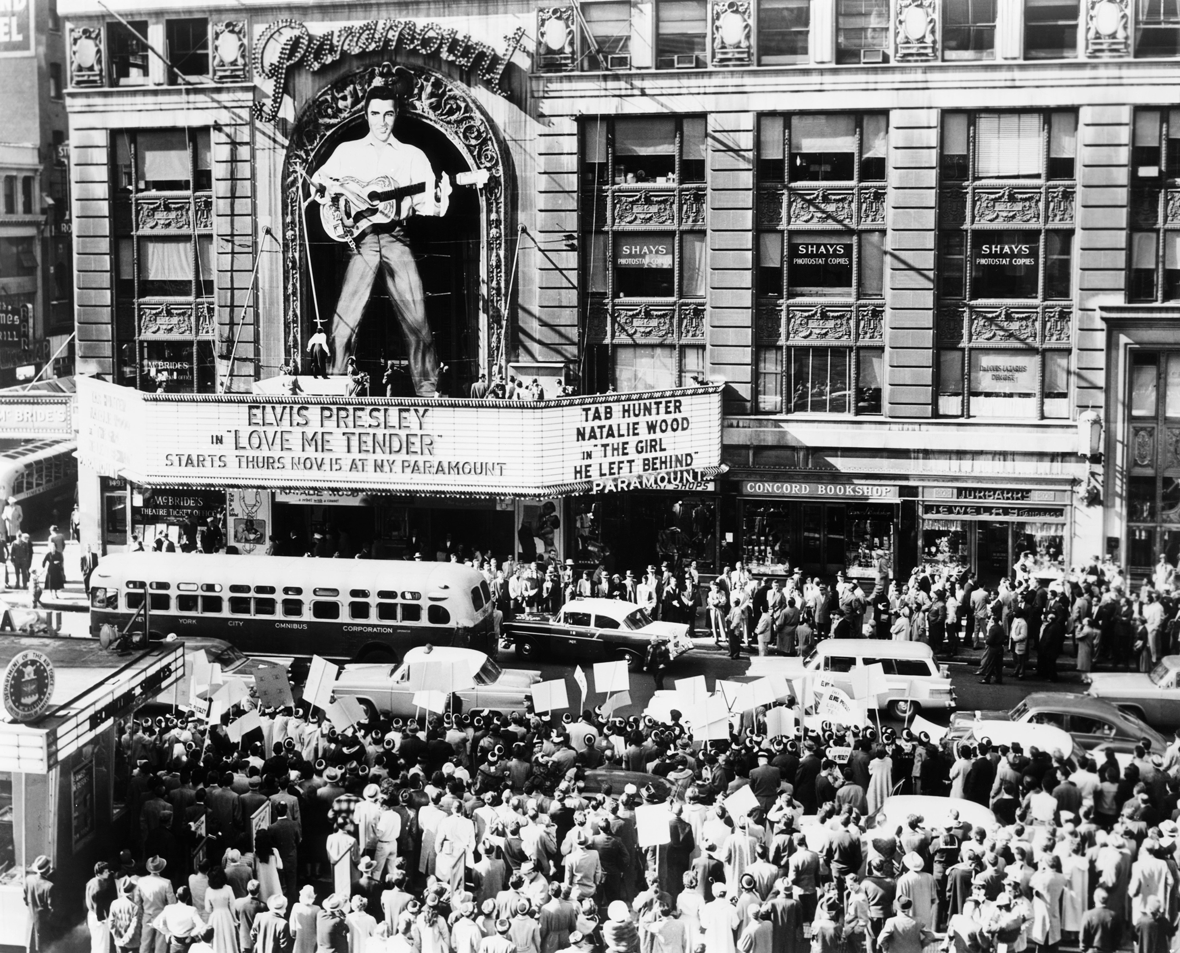 Opening of  Love Me Tender  movie at the Paramount Theater, New York, on Nov. 15, 1956.