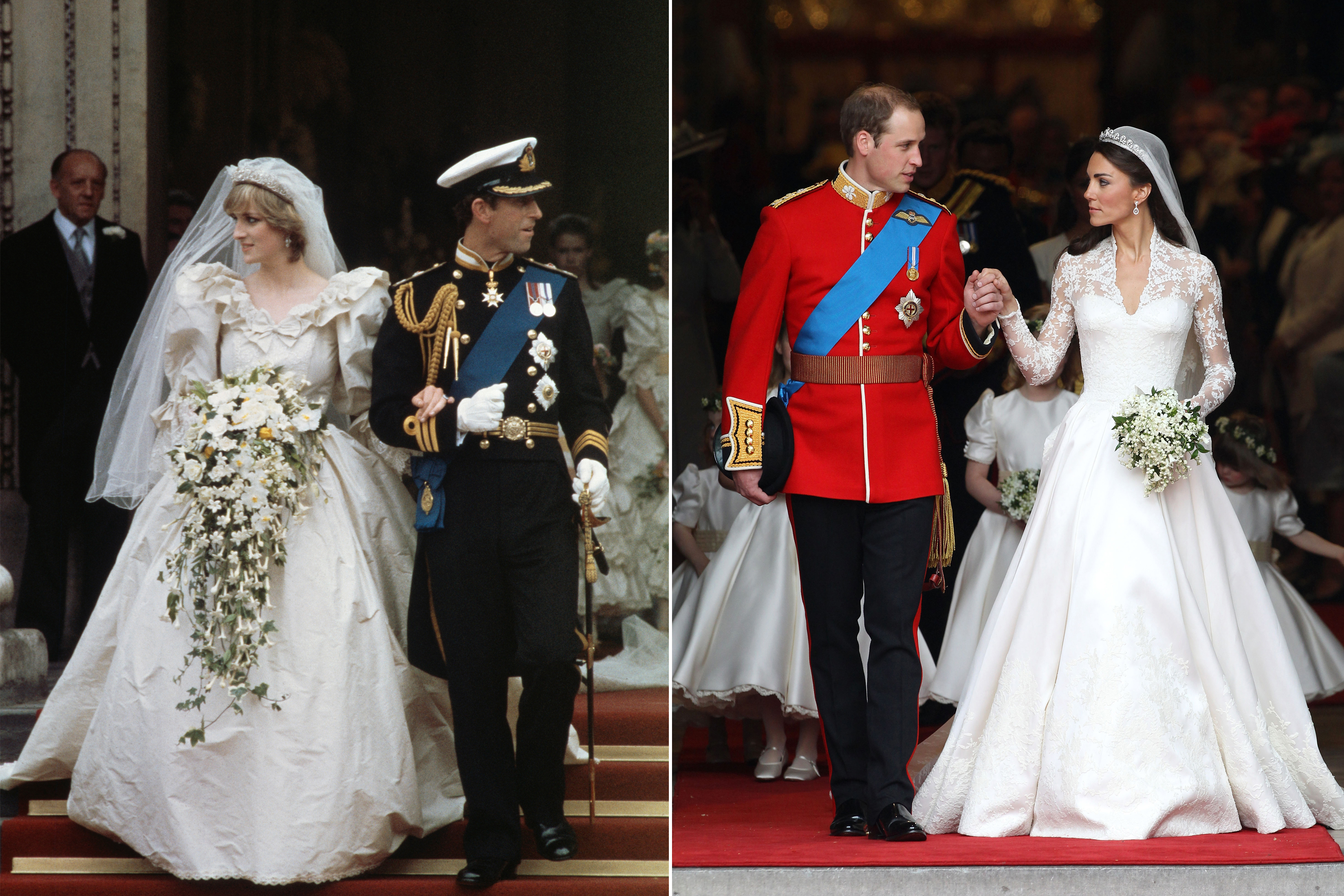 For their weddings, both Diana and Kate opted for full-skirted white gowns that were made by U.K. designers; Diana's by David and Elizabeth Emanuel, Kate's by Alexander McQueen.