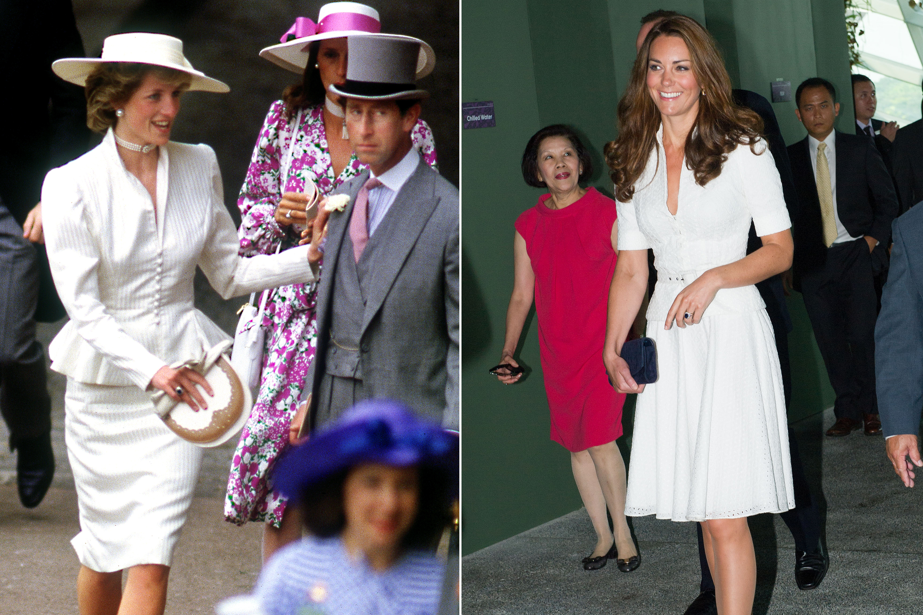 Crisp white skirt suits with nipped-in waists proved to be royally striking for both Diana and Kate.