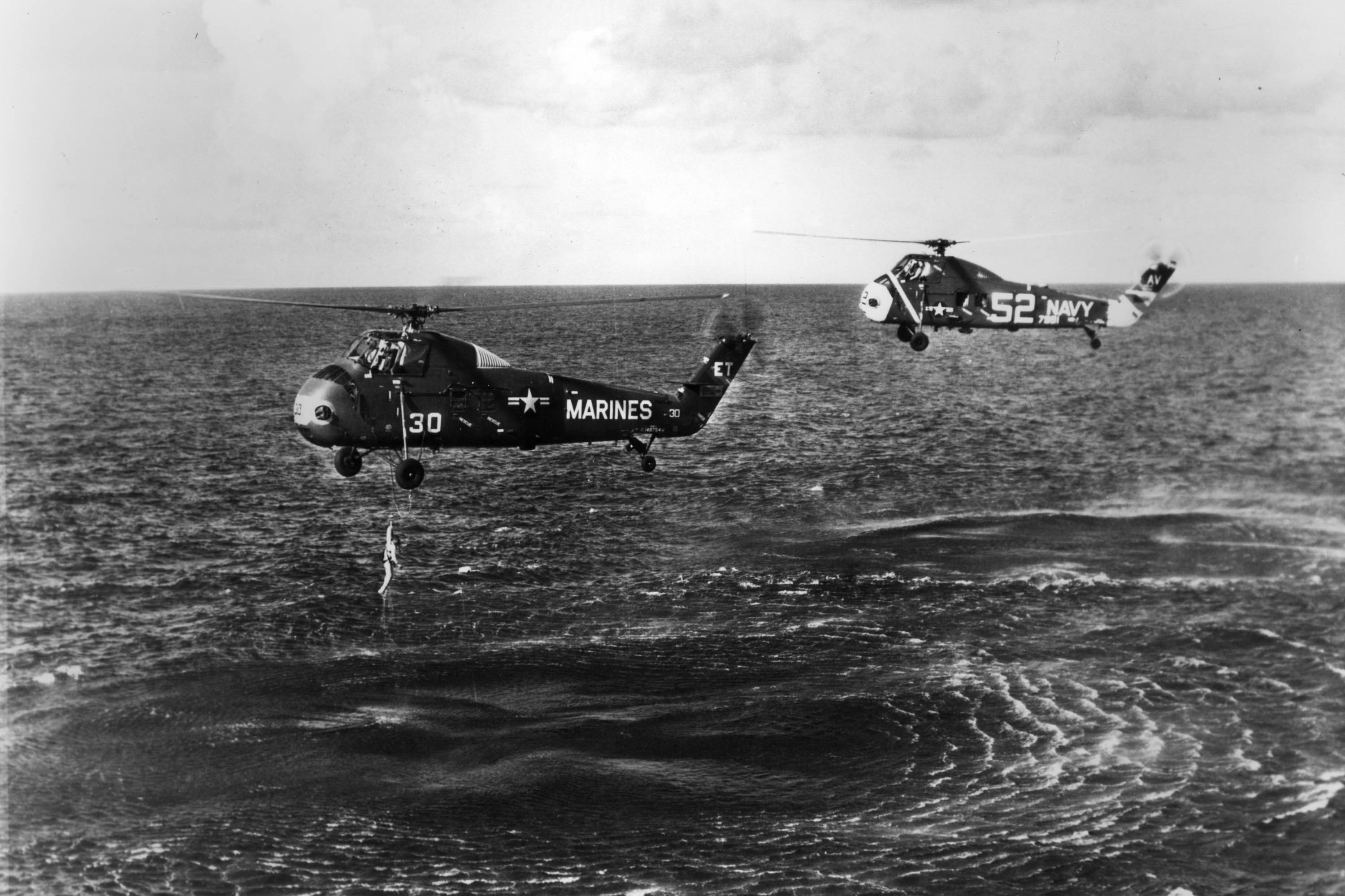July 21, 1961, Worldwide Mercury Astronaut Virgil 'Gus' Grissom Is Pulled From The Ocean. His Spce Capsule 'Liberty Bell 7' Sank After He Opened The Side Hatch.