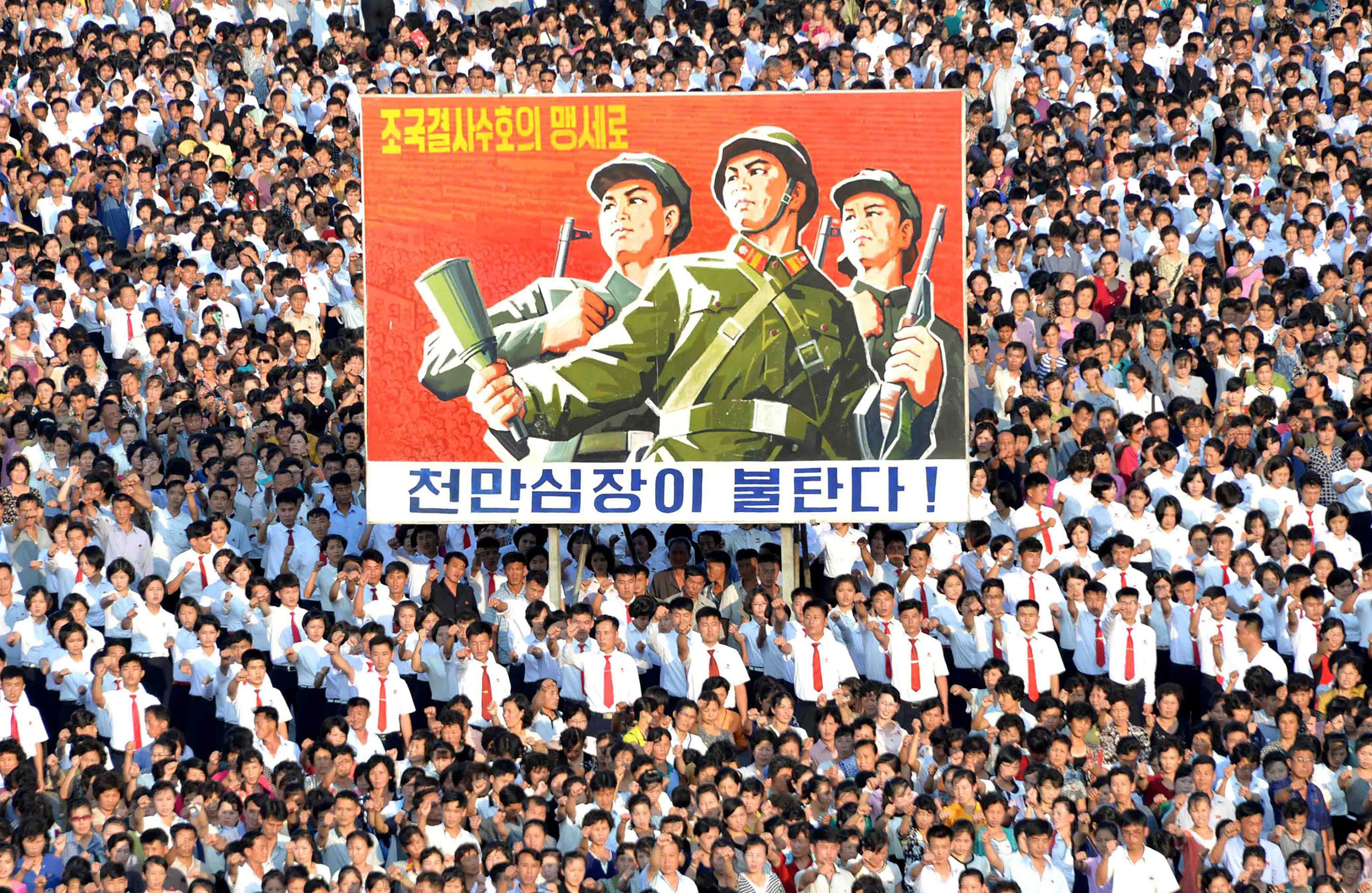 This picture taken on Aug. 9, 2017 and released by North Korea's official Korean Central News Agency (KCNA) on Aug. 10, 2017 shows a rally in support of North Korea's stance against the U.S., on Kim Il-Sung square in Pyongyang.