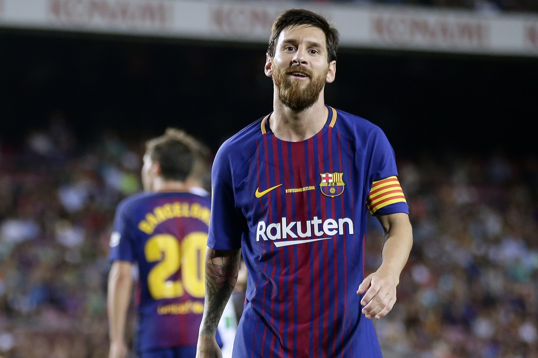 FC Barcelona's Lionel Messi, looks on during the Spanish La Liga soccer match between FC Barcelona and Betis at the Camp Nou stadium in Barcelona, Spain, Sunday, Aug. 20, 2017.