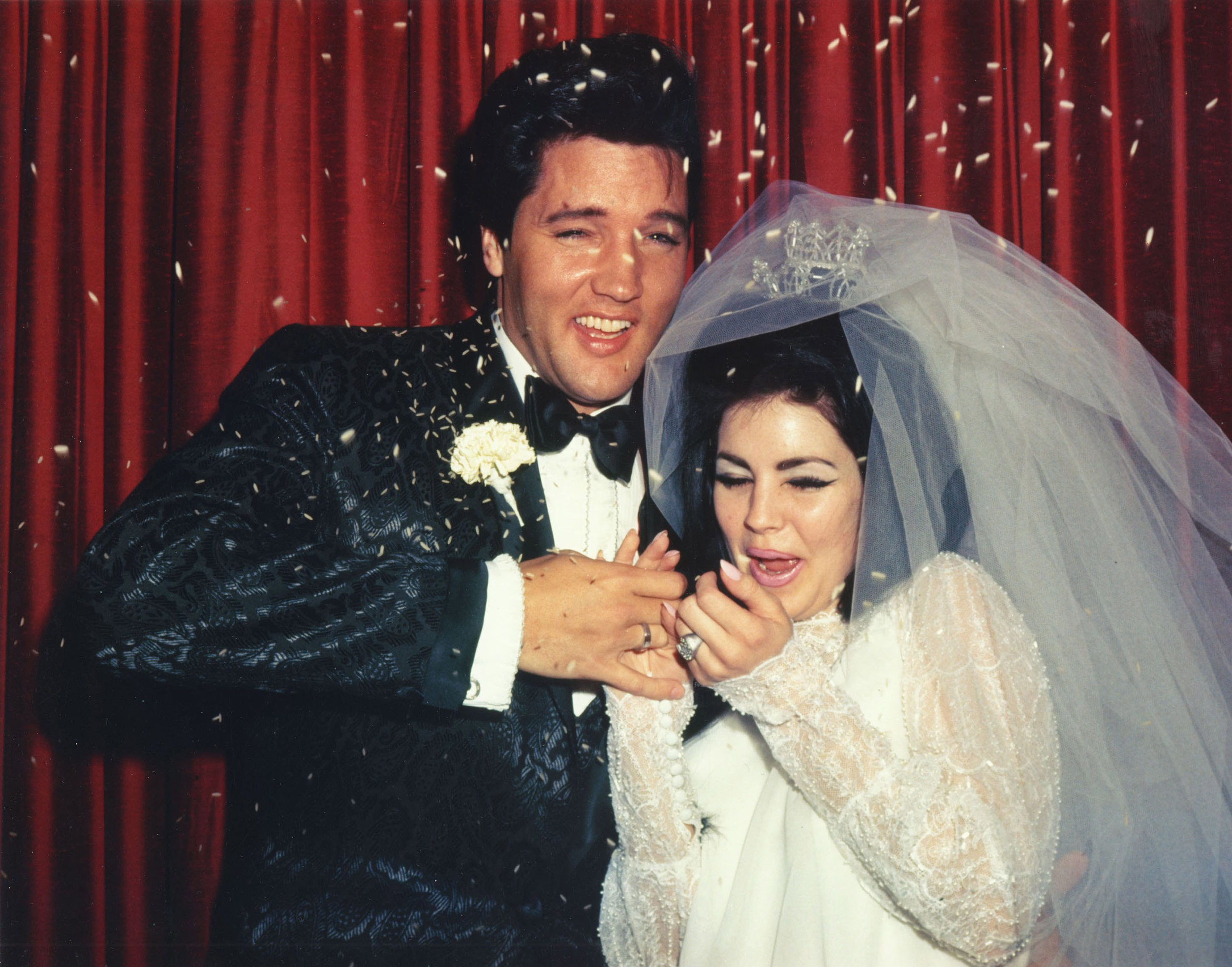 Elvis Presley and Priscilla on their wedding day, May 1,1967.
