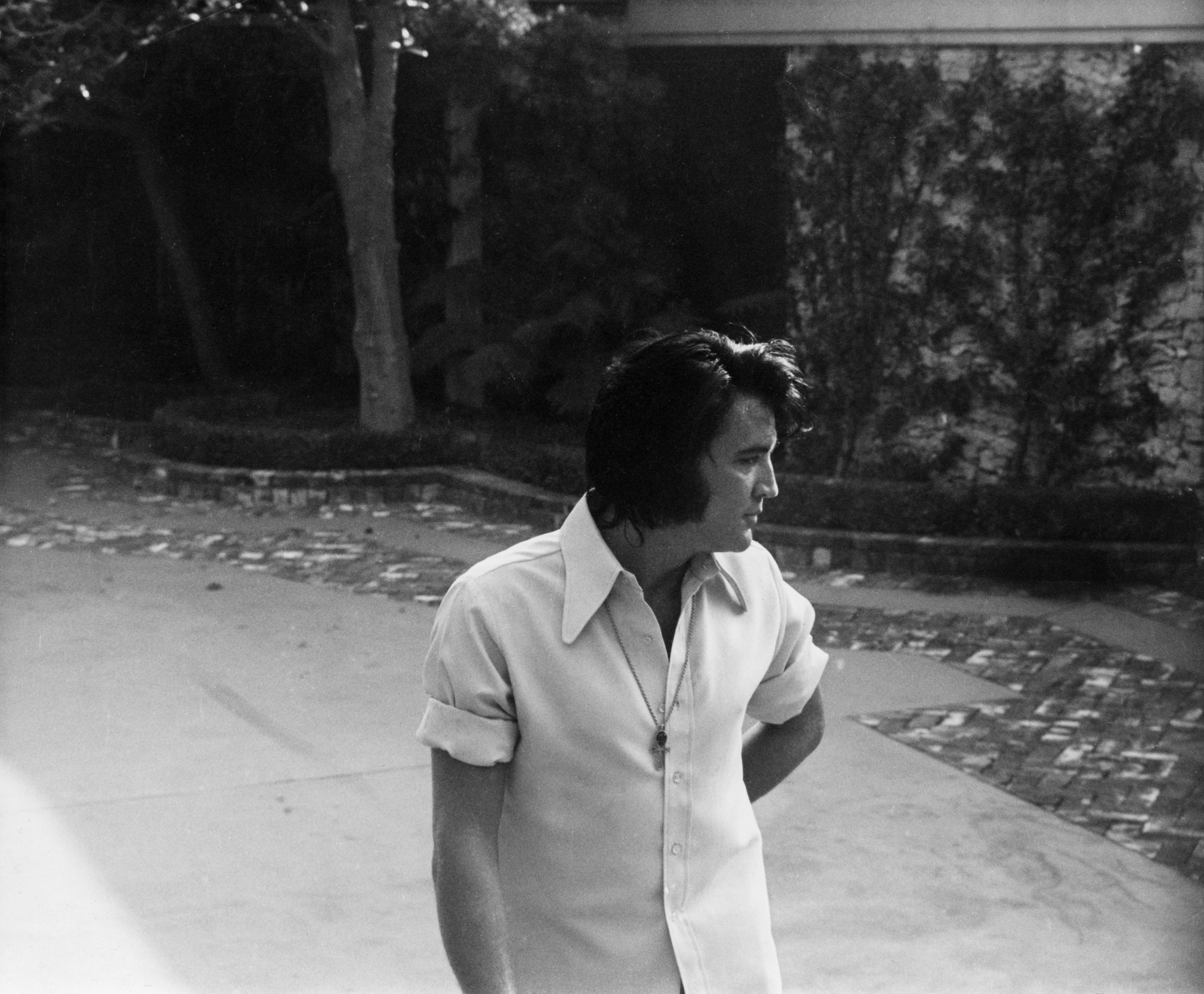 Elvis Presley in his driveway                                at Graceland, circa 1970s.