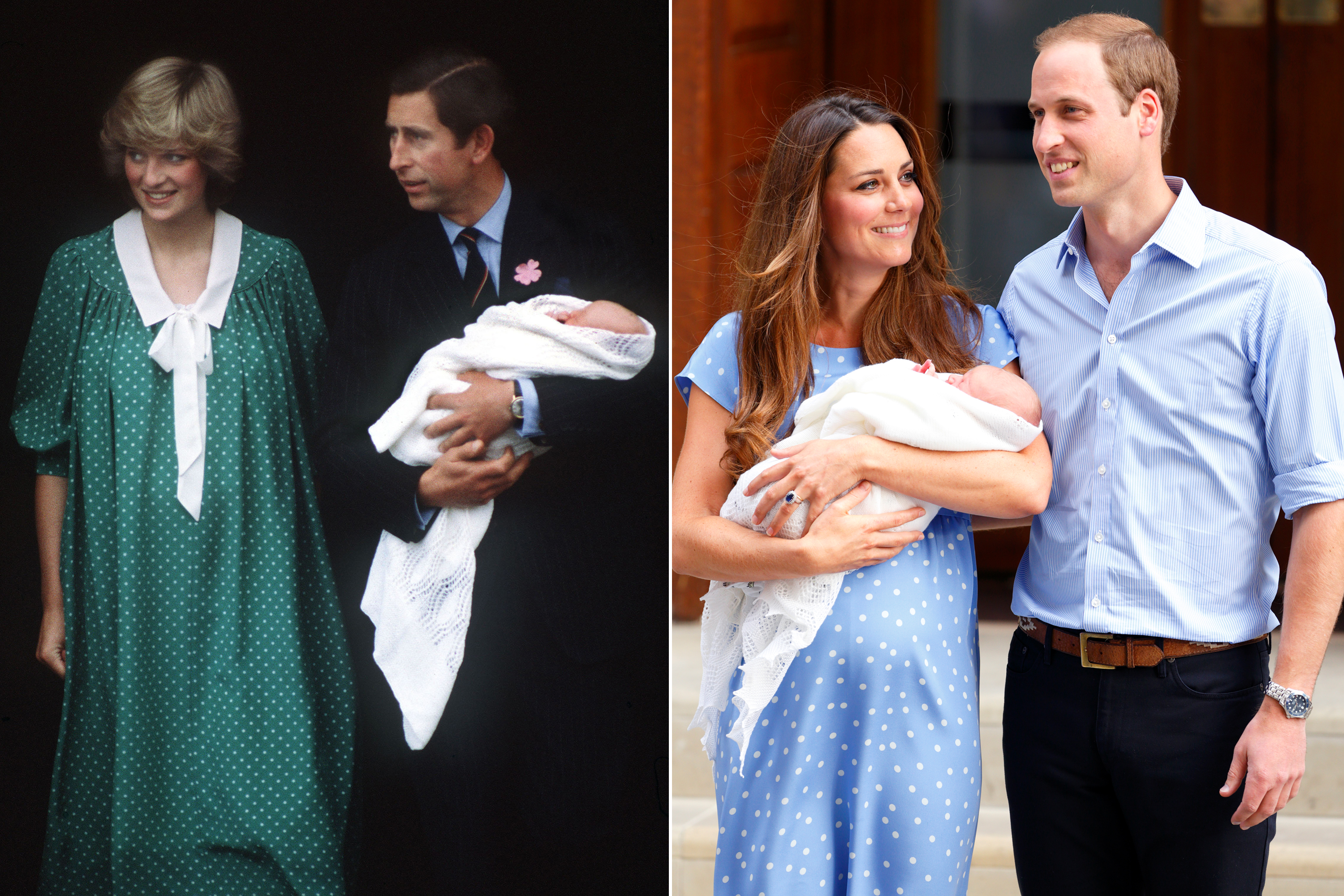 When it came to post-partum fashion to leave the hospital after giving birth, both Diana and Kate opted for comfortable but pretty polka dotted dresses.