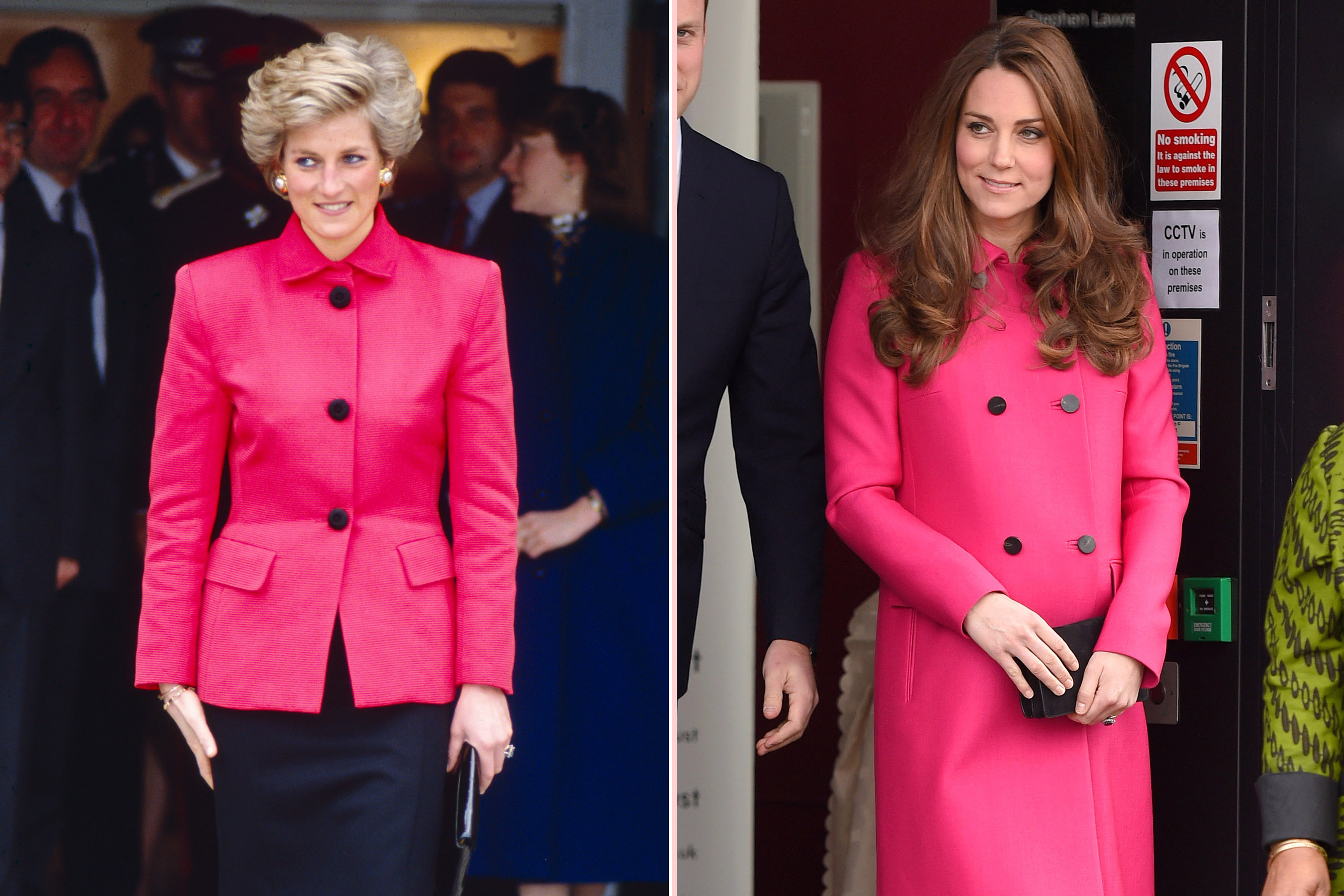 Diana's bright pink jacket looks like it could have inspired Kate's own fuchsia outerwear choice.