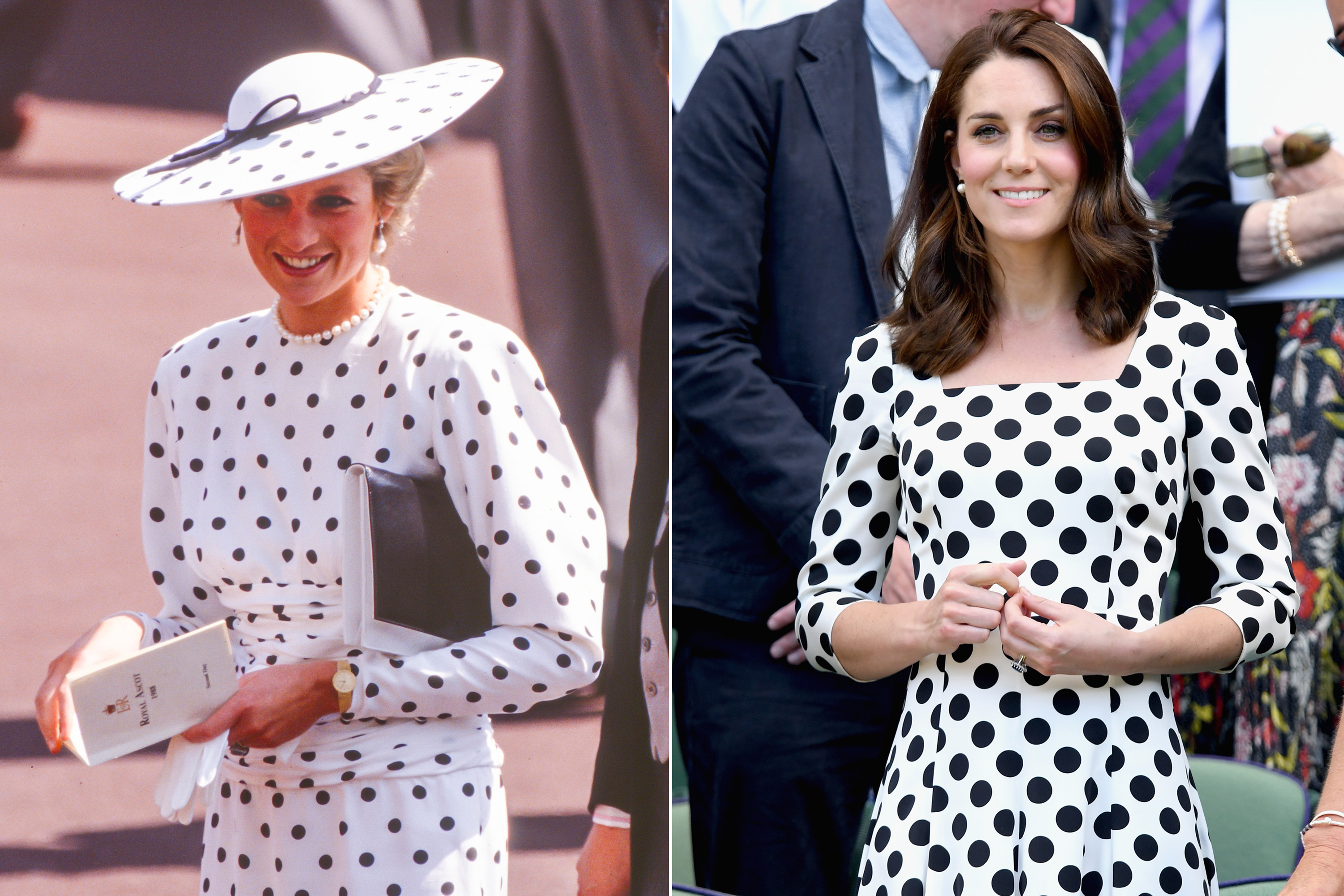 Both Kate and Diana knew that a polka dot print could give a playful touch to an otherwise conservative outfit.
