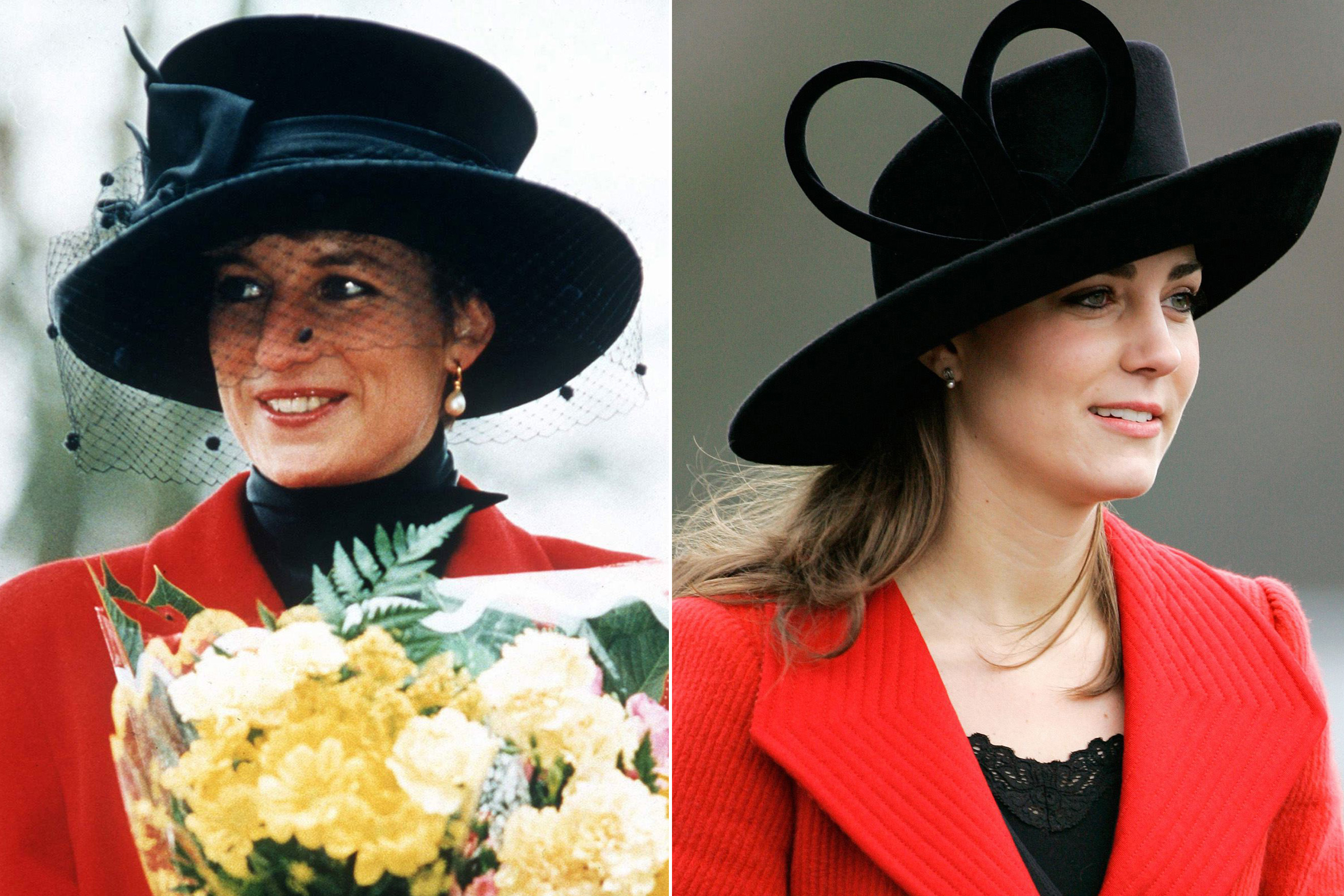 Kate took a style cue from Diana's pairing of a striking red coat with a dramatic black hat.