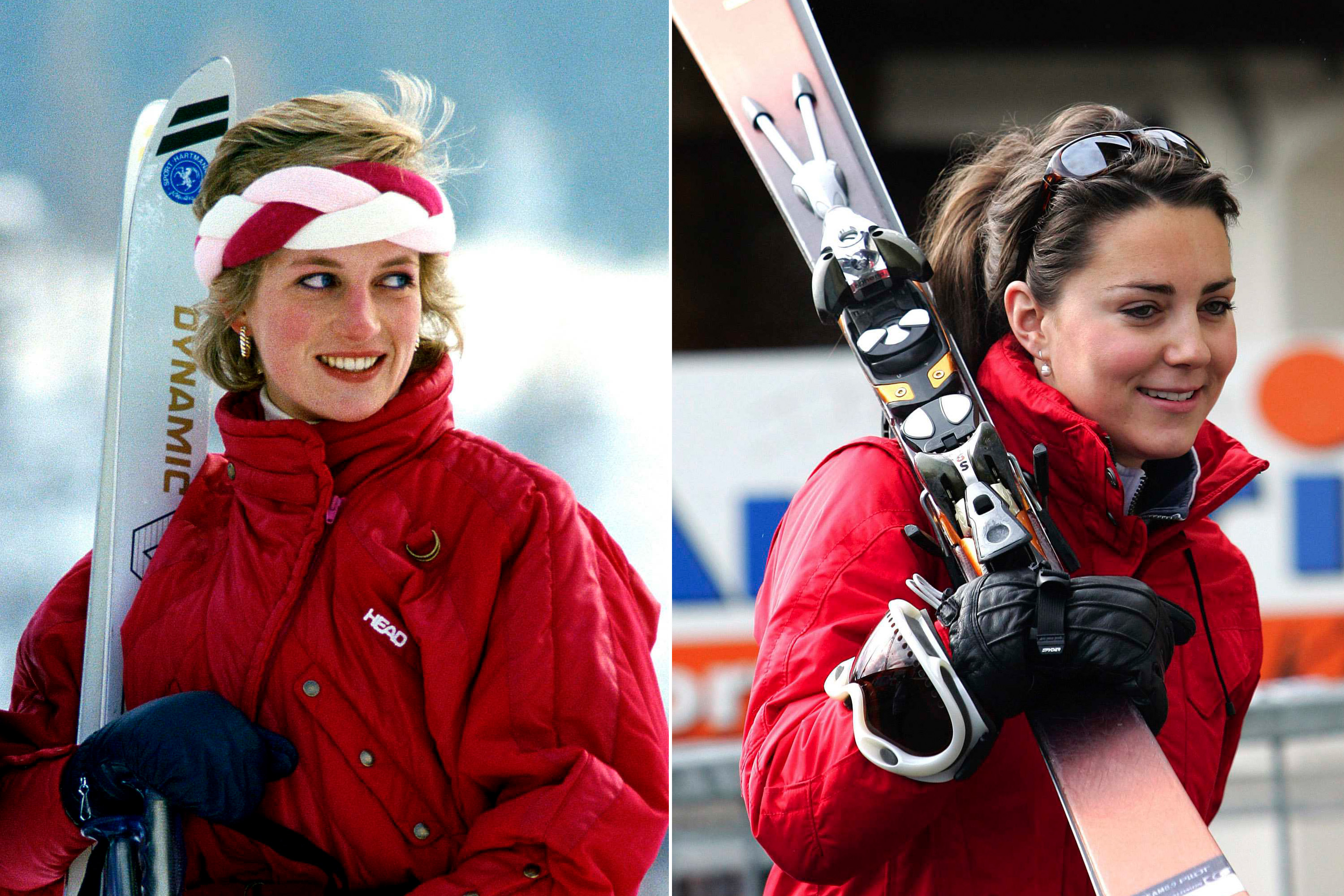 Bright red skiwear was a striking choice for both Diana and Kate to hit the slopes.