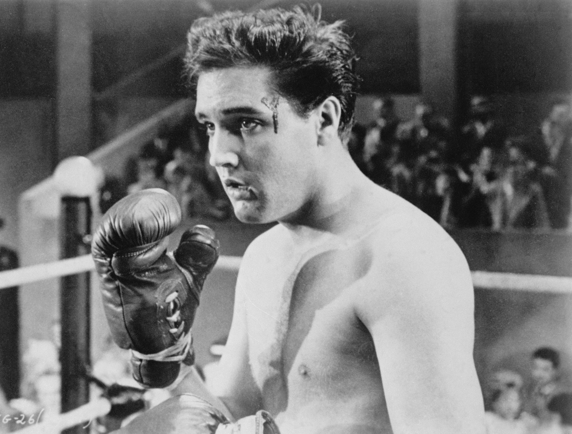 Kid Galahad : 1962, Elvis in makeup during the remake of an old boxing film.