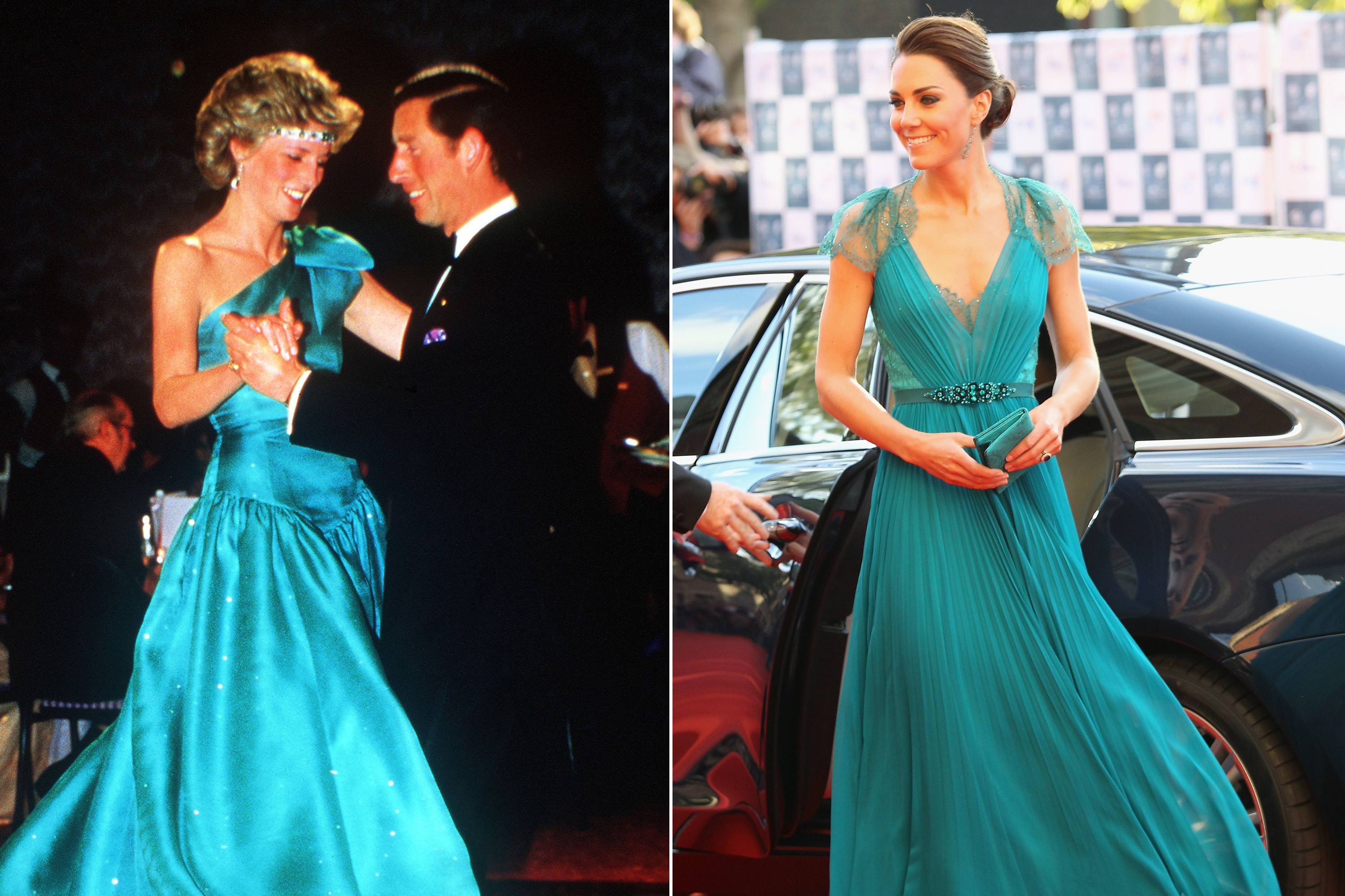 Formal wear got a vibrant update for both Diana and Kate in jewel-toned teal.