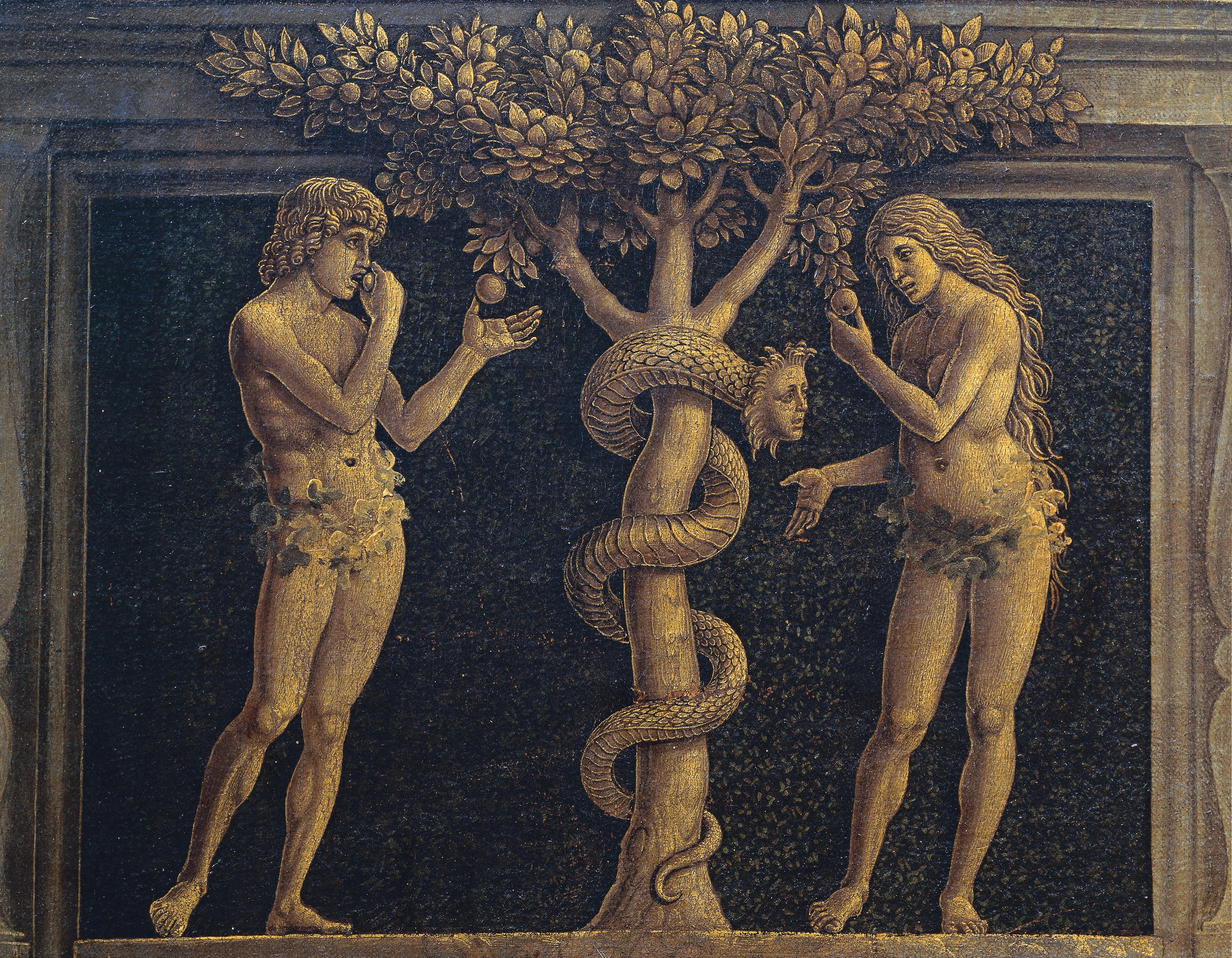 Adam and Eve committing original sin, detail from The Virgin of Victory, 1496, by Andrea Mantegna (1431-1506), tempera on canvas, 280x166 cm.