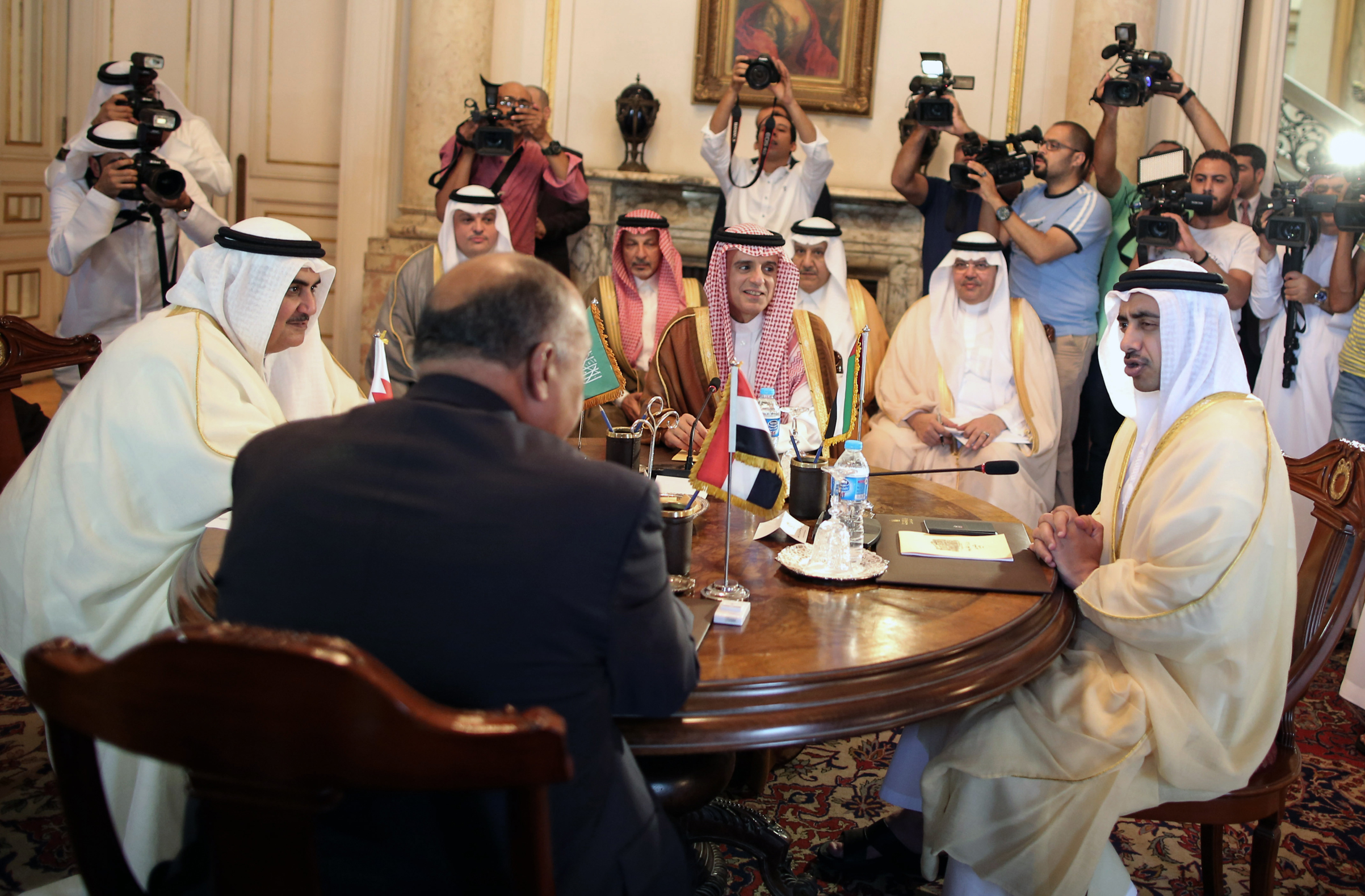 Foreign ministers from Bahrain, Egypt, Saudi Arabia and the U.A.E. discuss the diplomatic crisis with Qatar in Cairo on July 5, 2017.