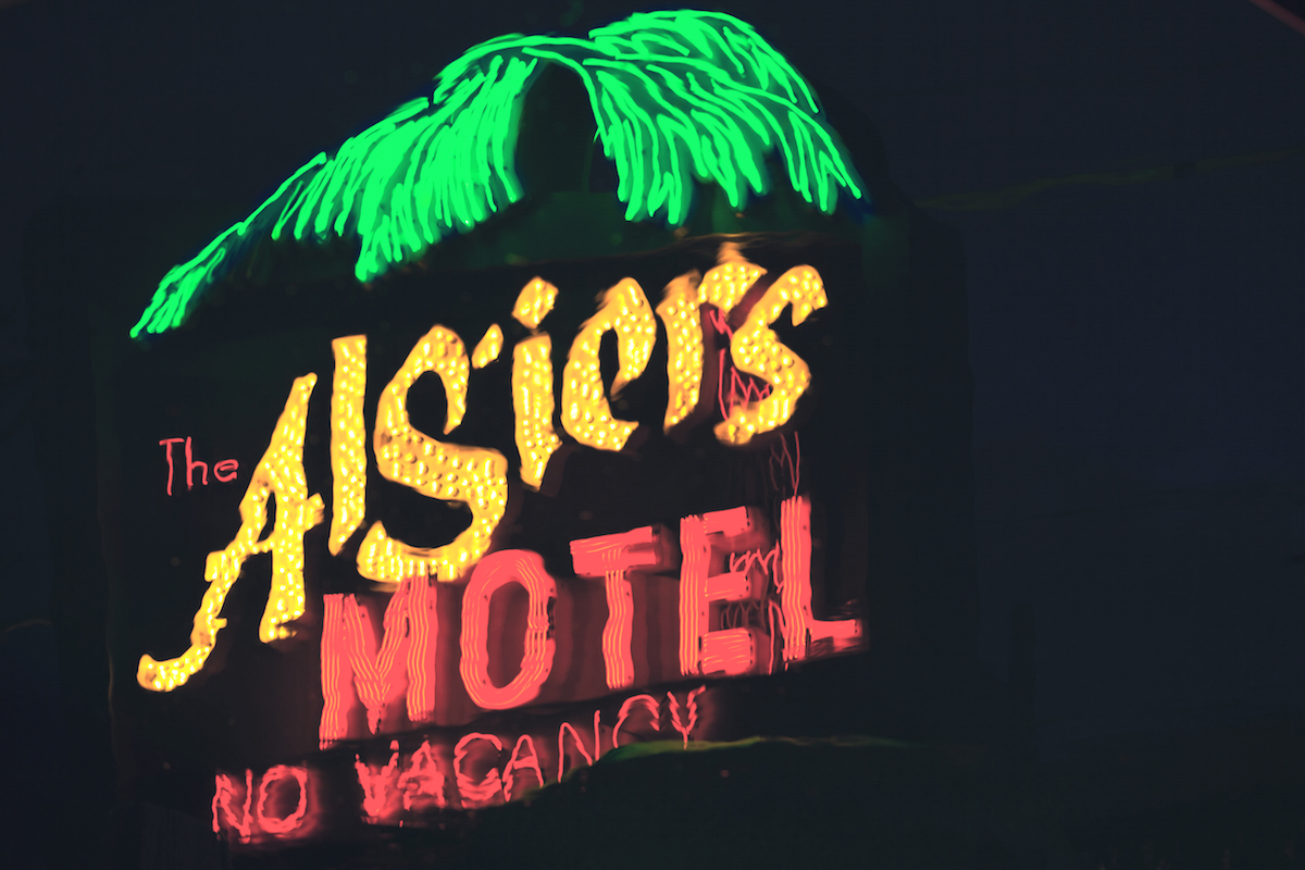 The Algiers Motel neon sign as depicted in the movie 'Detroit'